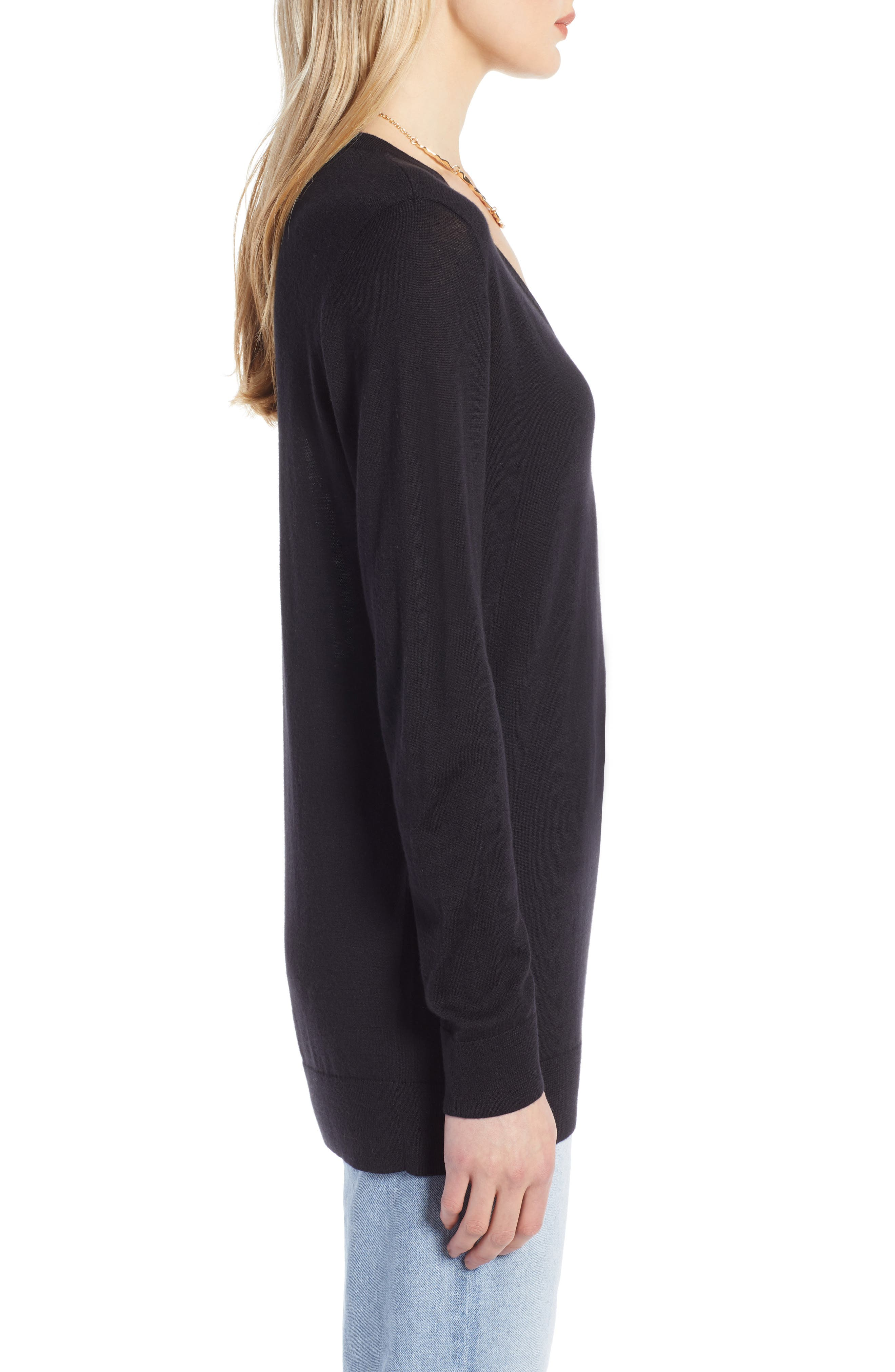 HALOGEN<SUP>®</SUP>, Relaxed V-Neck Sweater, Alternate thumbnail 3, color, BLACK