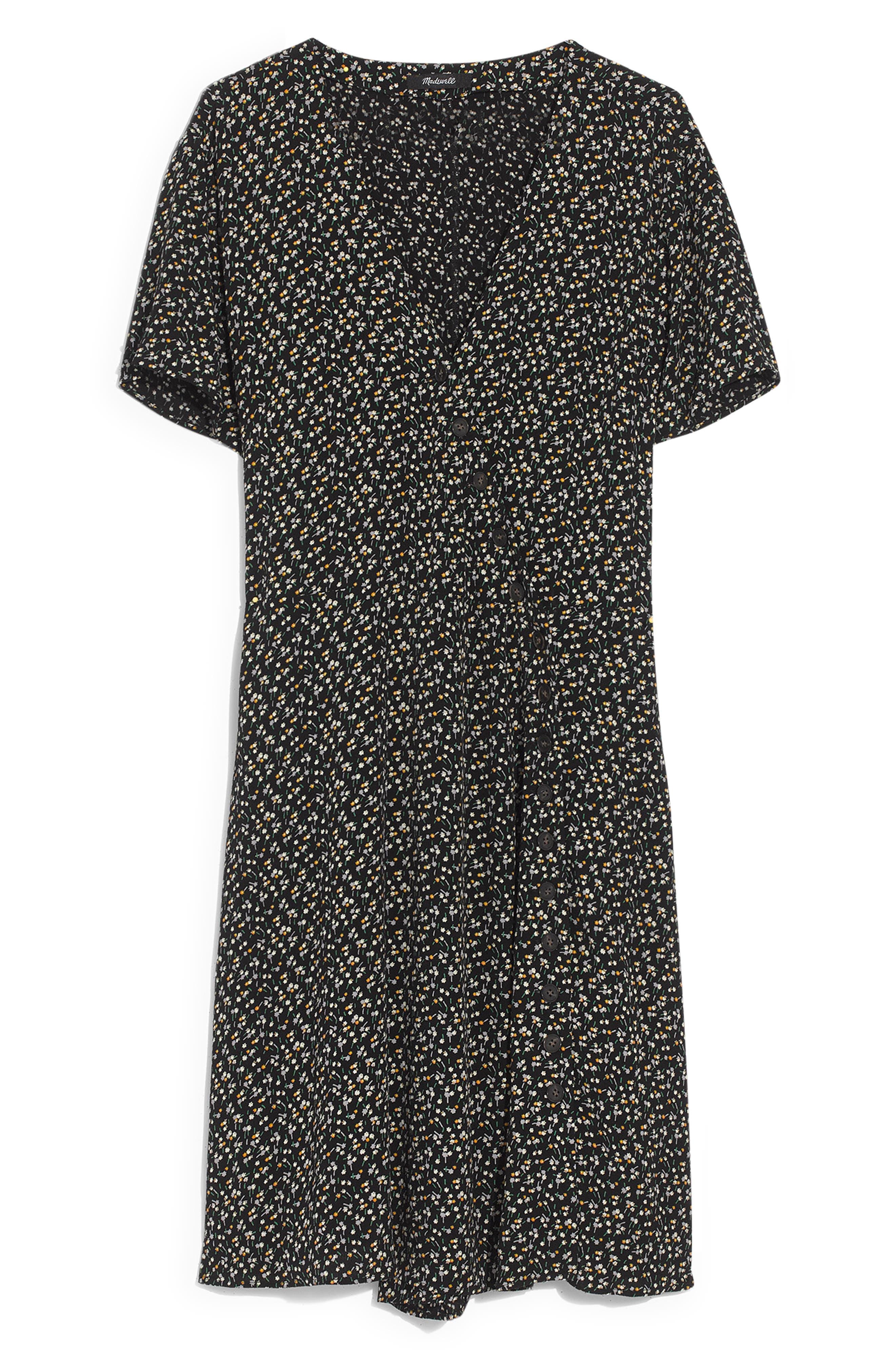 MADEWELL, Button Wrap Dress, Alternate thumbnail 5, color, BLACK FLORAL