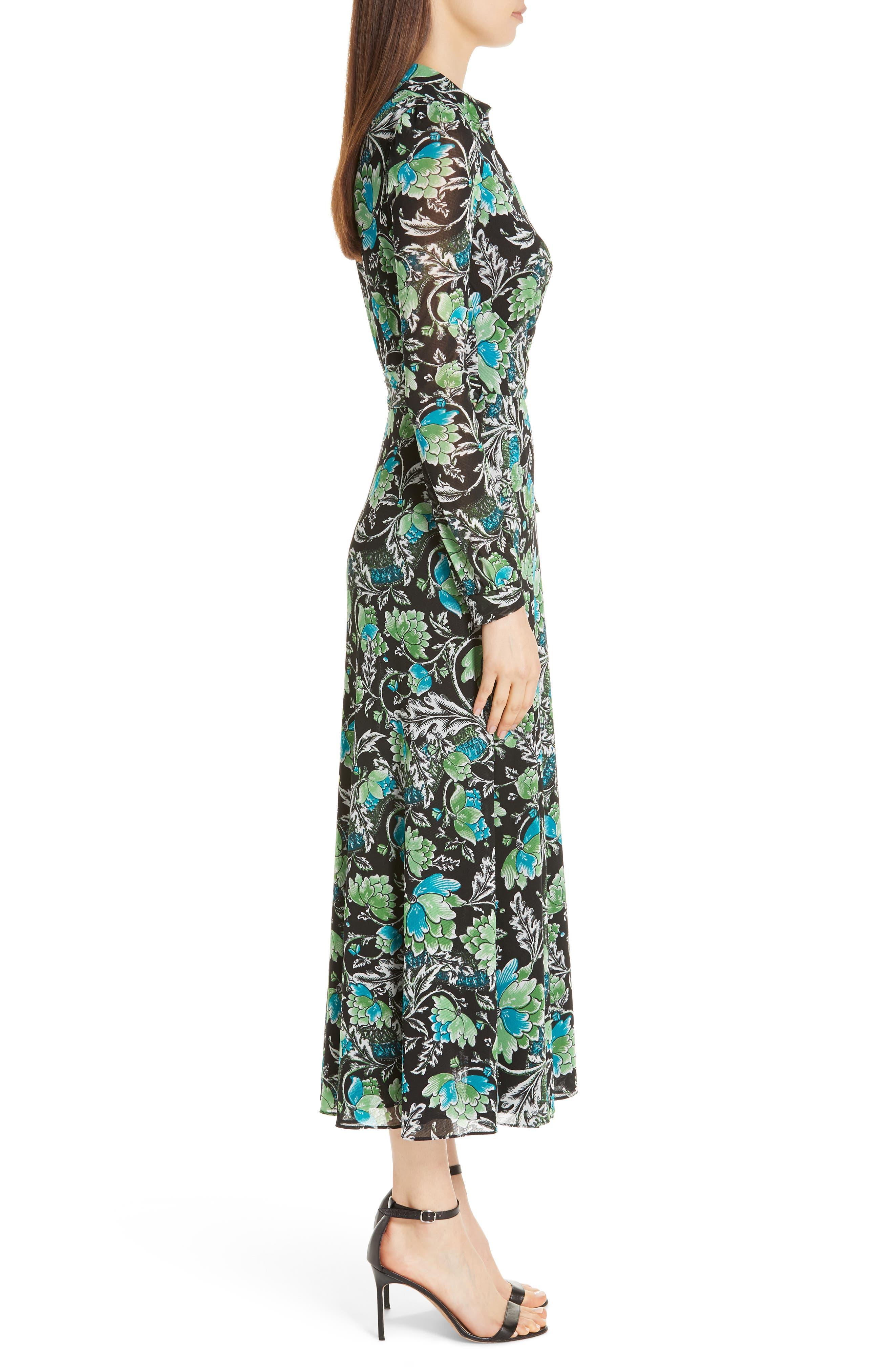 DVF, Phoenix Floral Print Wrap Dress, Alternate thumbnail 4, color, 001