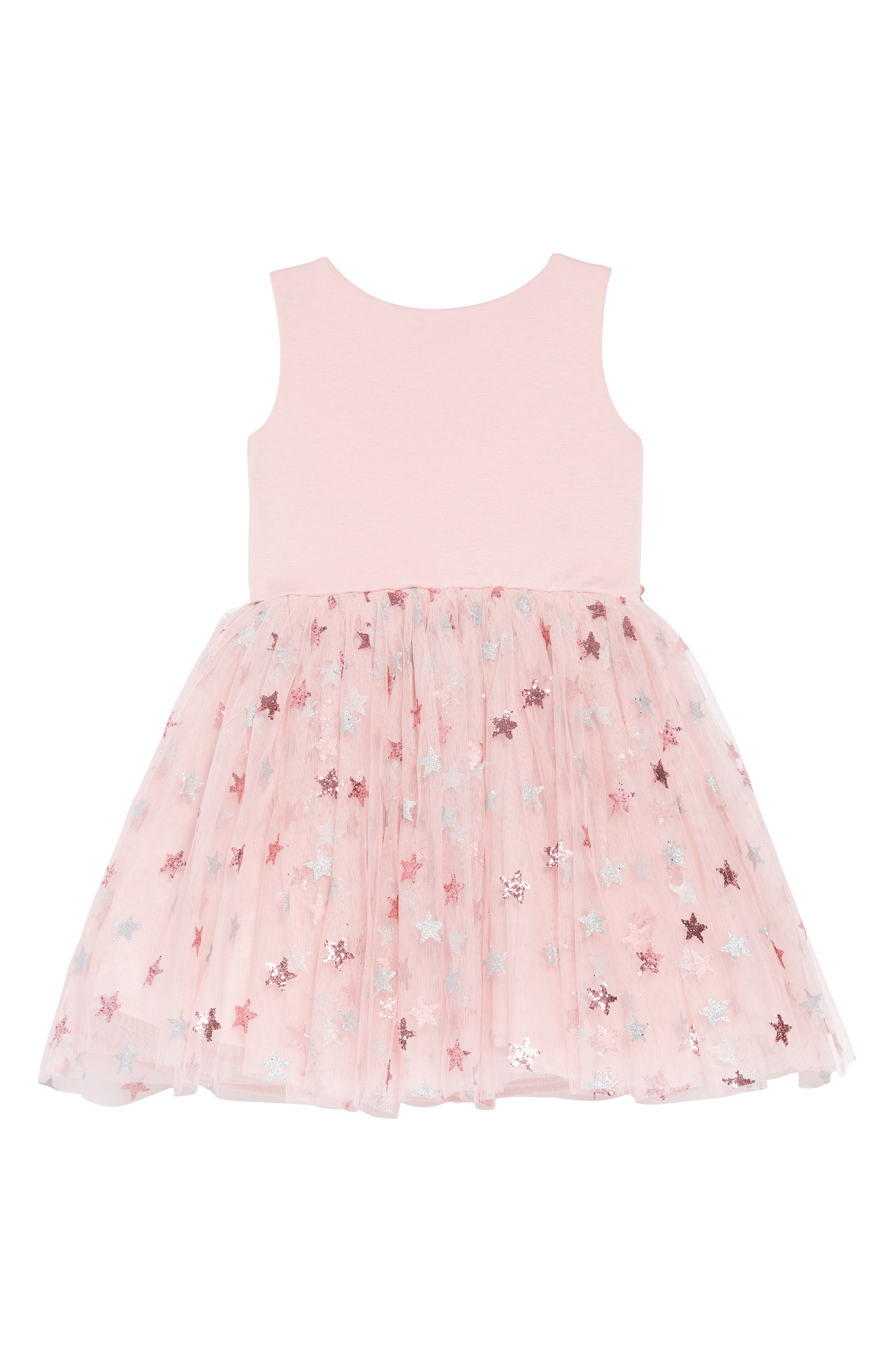ZUNIE, Glitter Star Ponte & Tulle Dress, Alternate thumbnail 2, color, MAUVE/ SILVER