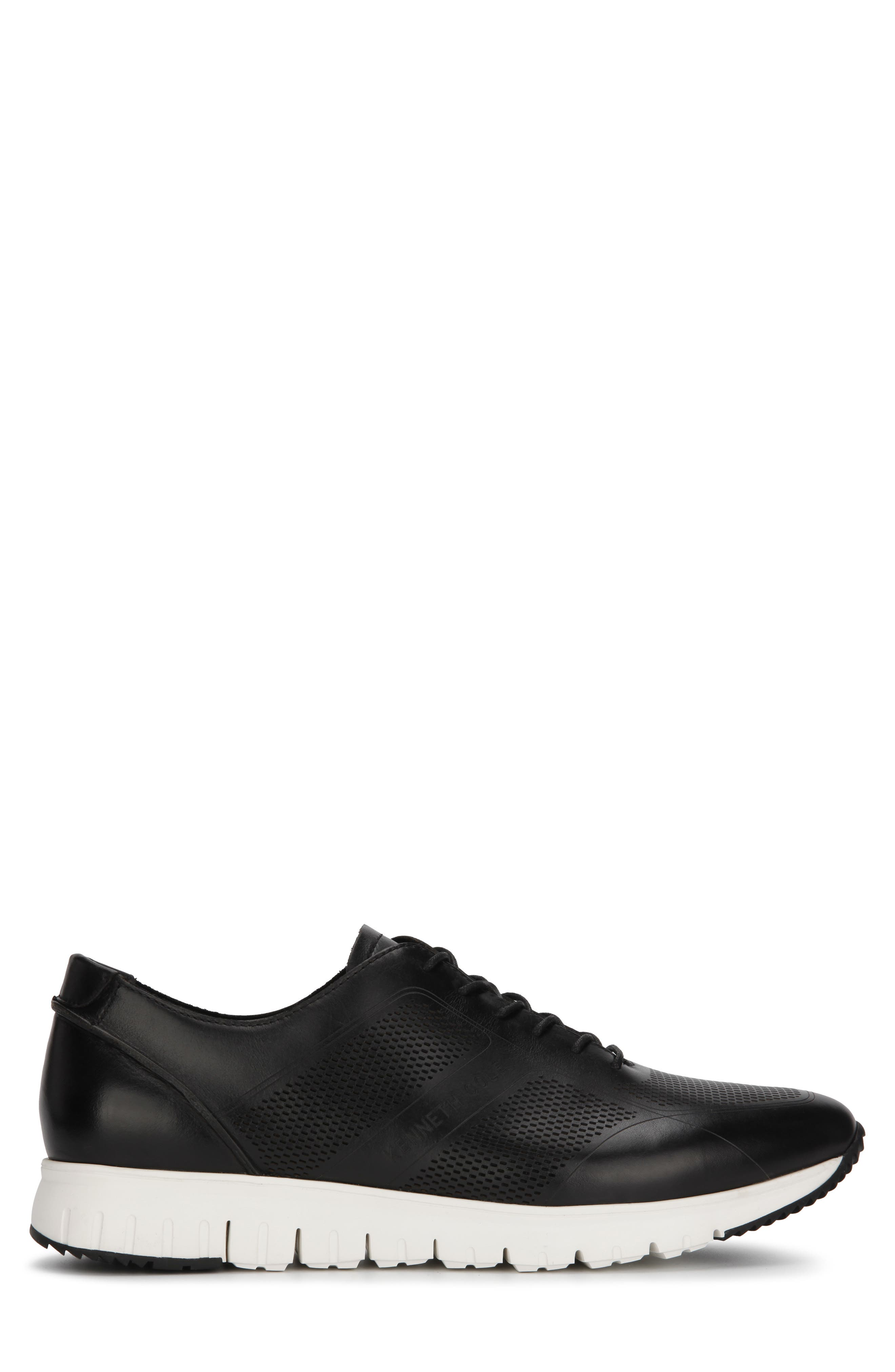 KENNETH COLE NEW YORK, Bailey Sneaker, Alternate thumbnail 2, color, BLACK LASERED LEATHER