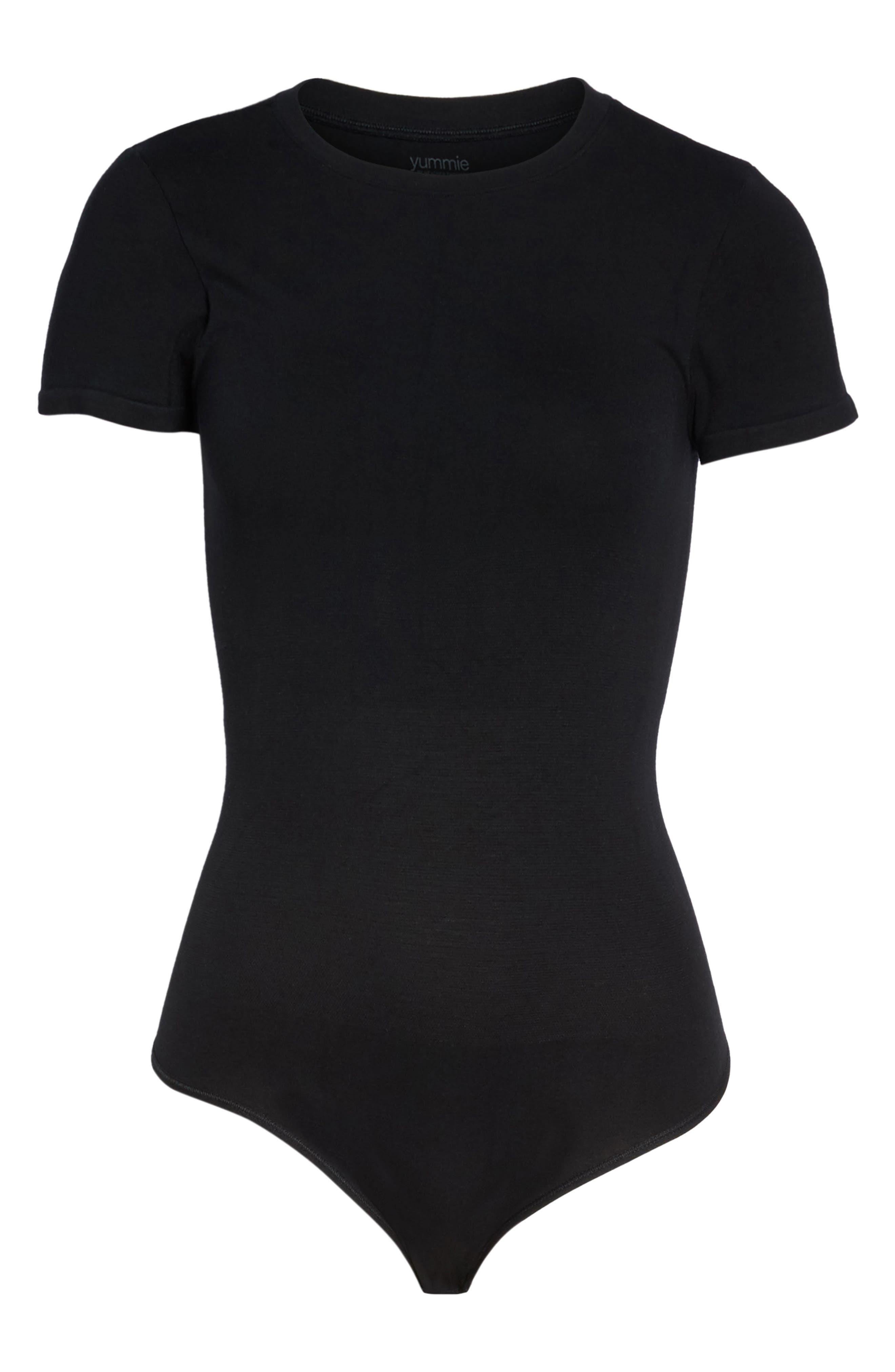 YUMMIE, Thong Bodysuit, Alternate thumbnail 7, color, BLACK