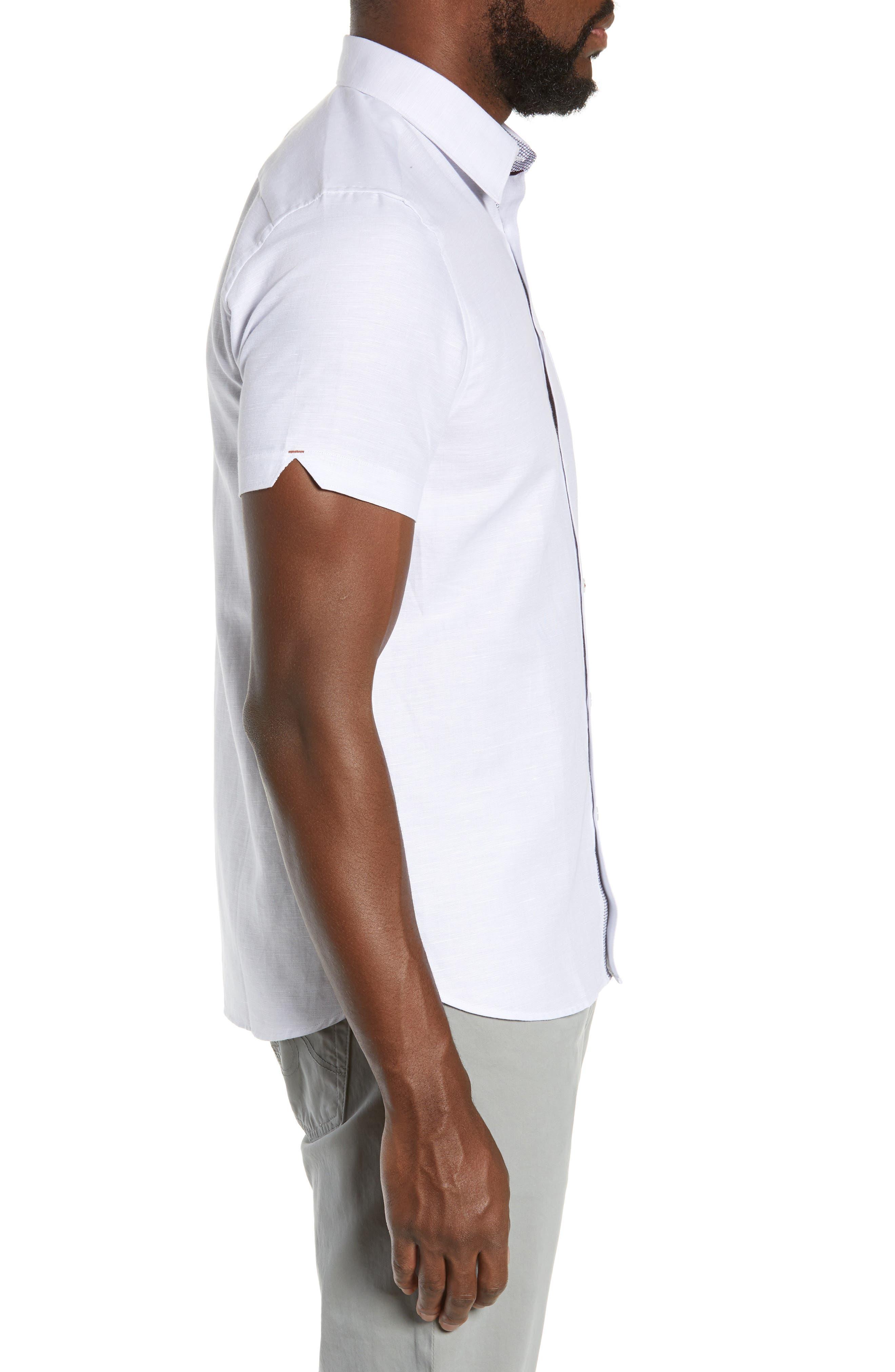 TED BAKER LONDON, Graphit Slim Fit Cotton & Linen Sport Shirt, Alternate thumbnail 4, color, GREY
