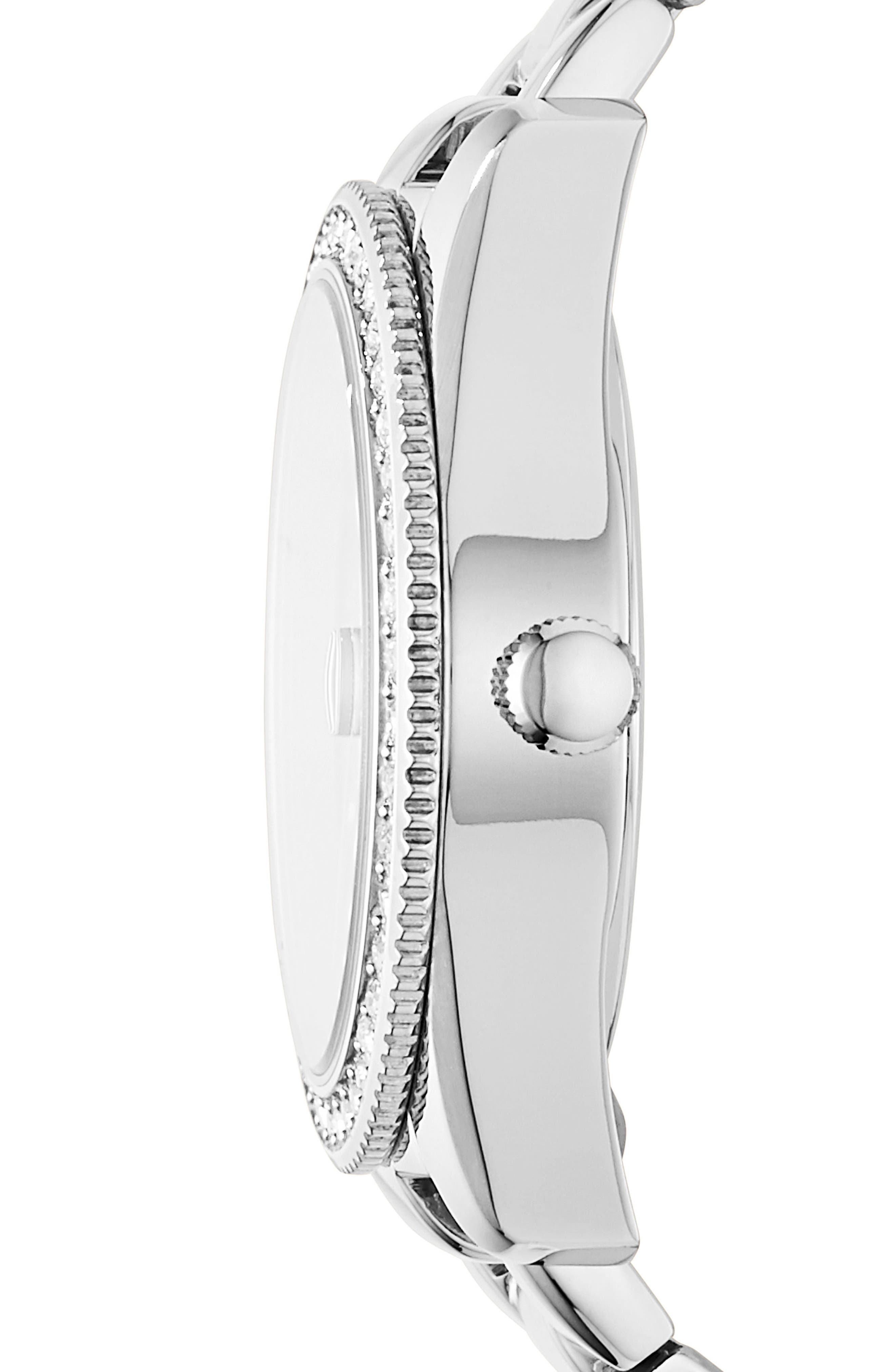 FOSSIL, Scarlette Crystal Bracelet Watch, 32mm, Alternate thumbnail 2, color, SILVER