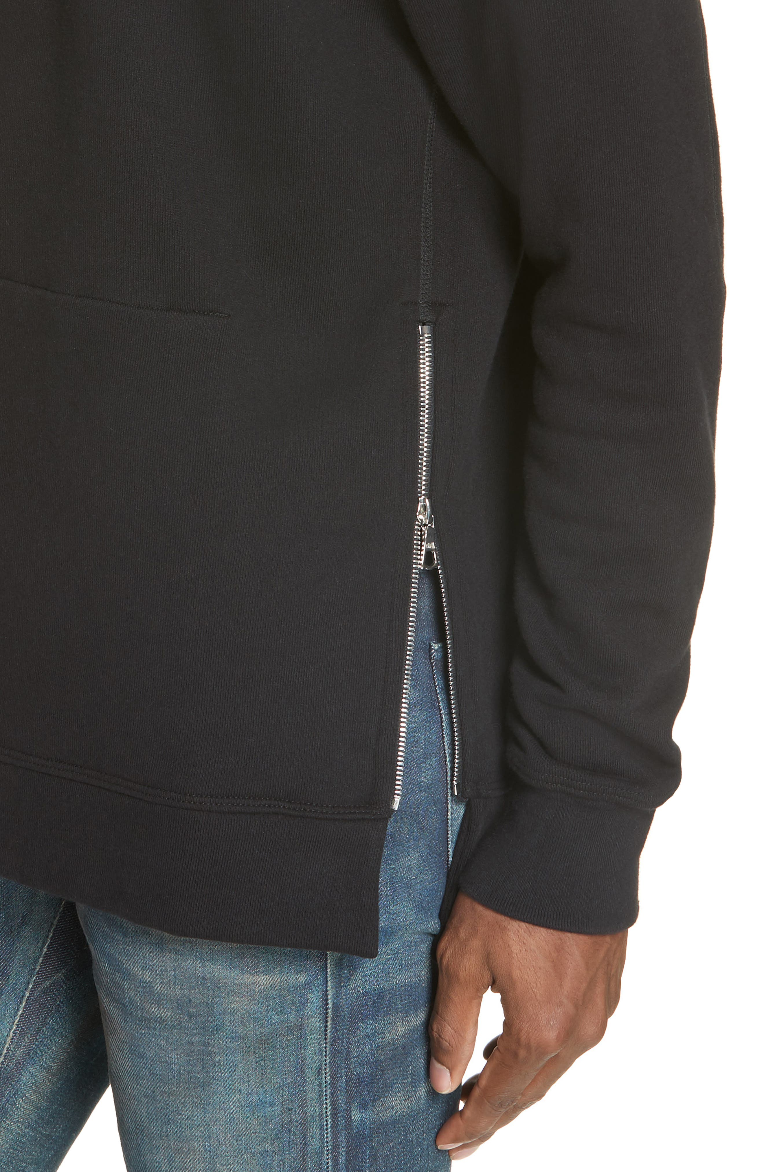JOHN ELLIOTT, Hooded Villain Sweatshirt, Alternate thumbnail 4, color, BLACK
