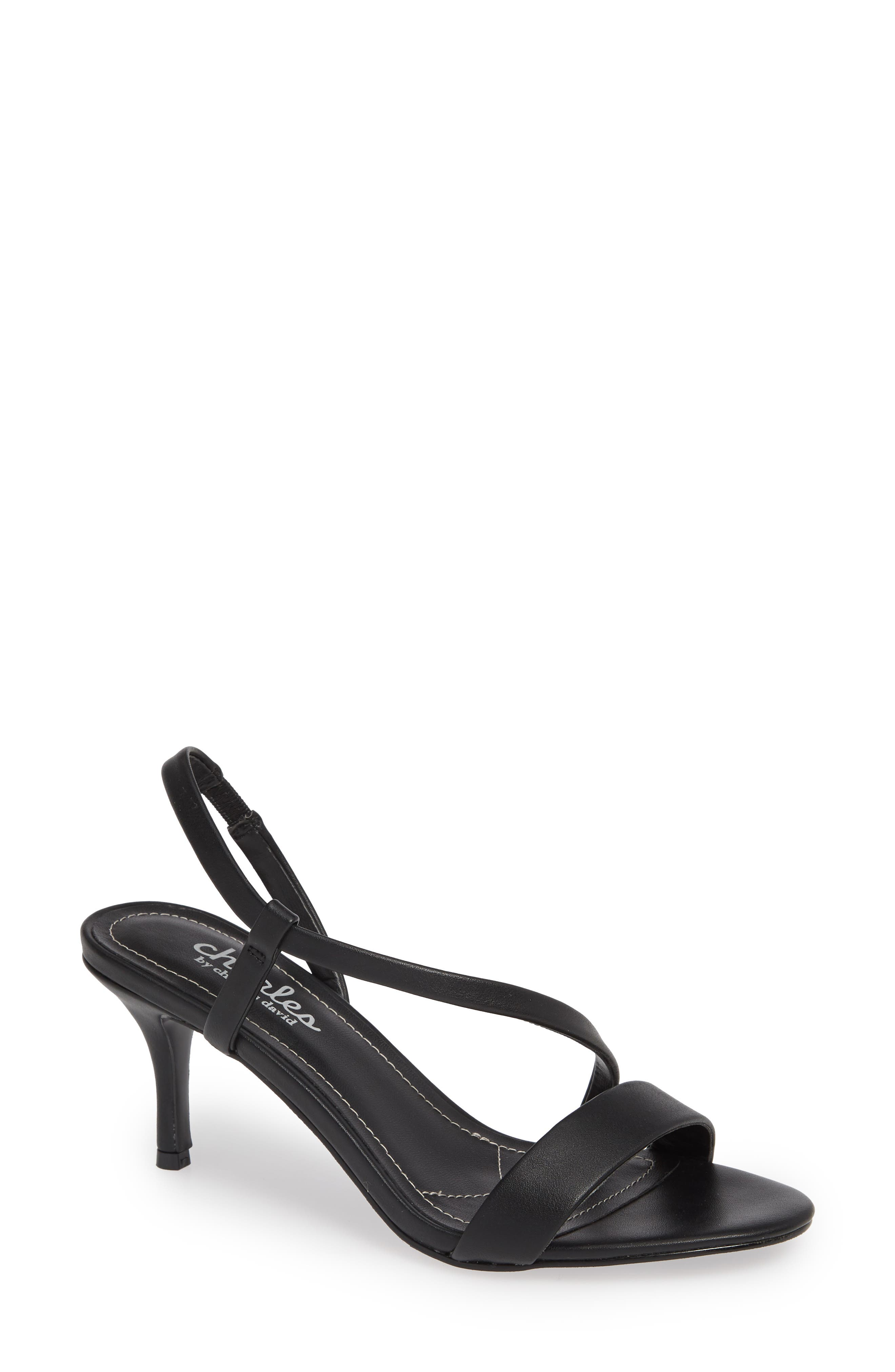 CHARLES BY CHARLES DAVID, Bermuda Asymmetrical Sandal, Main thumbnail 1, color, BLACK FAUX LEATHER