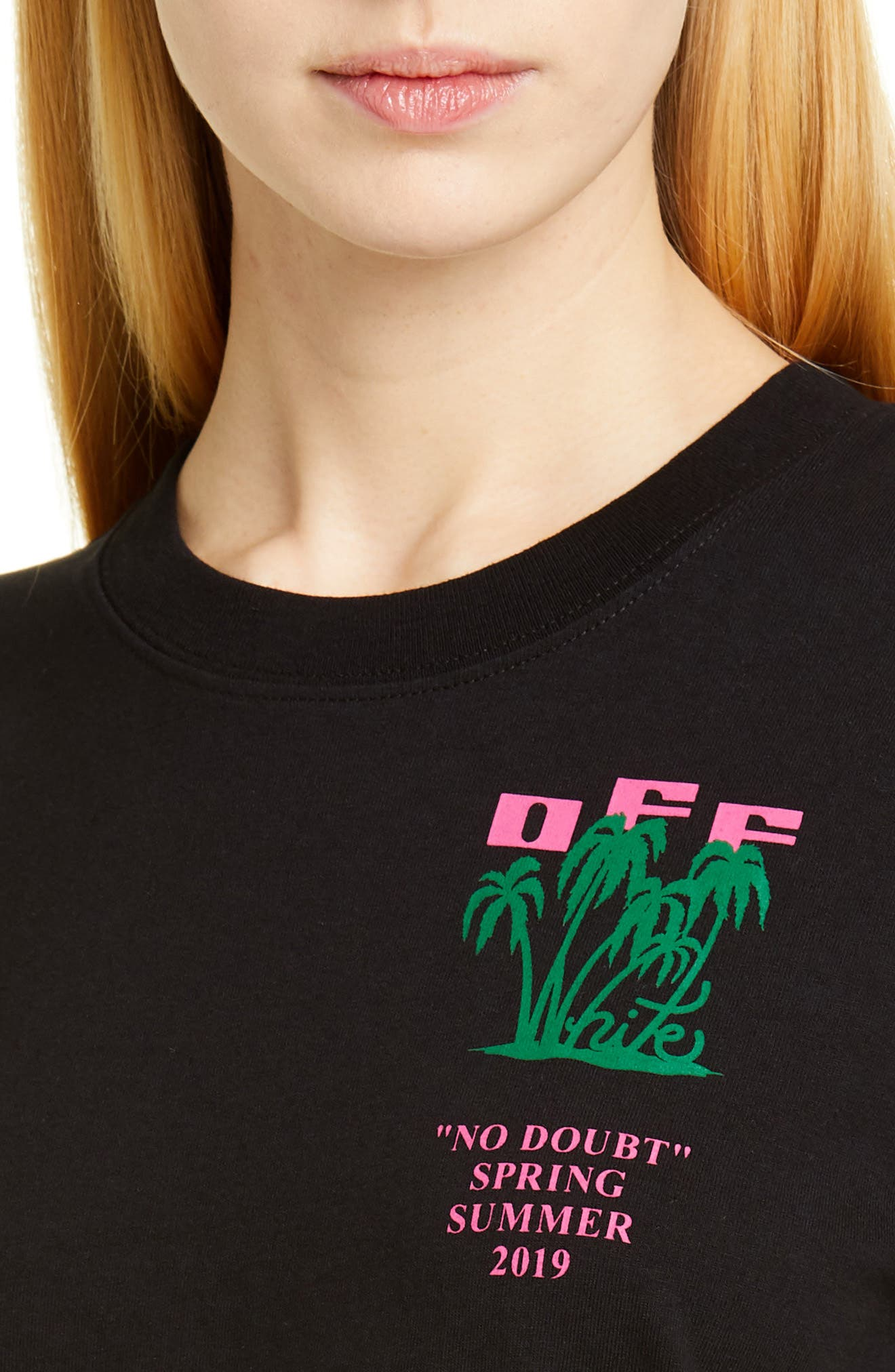OFF-WHITE, Island Print Tee, Alternate thumbnail 4, color, BLACK GREEN