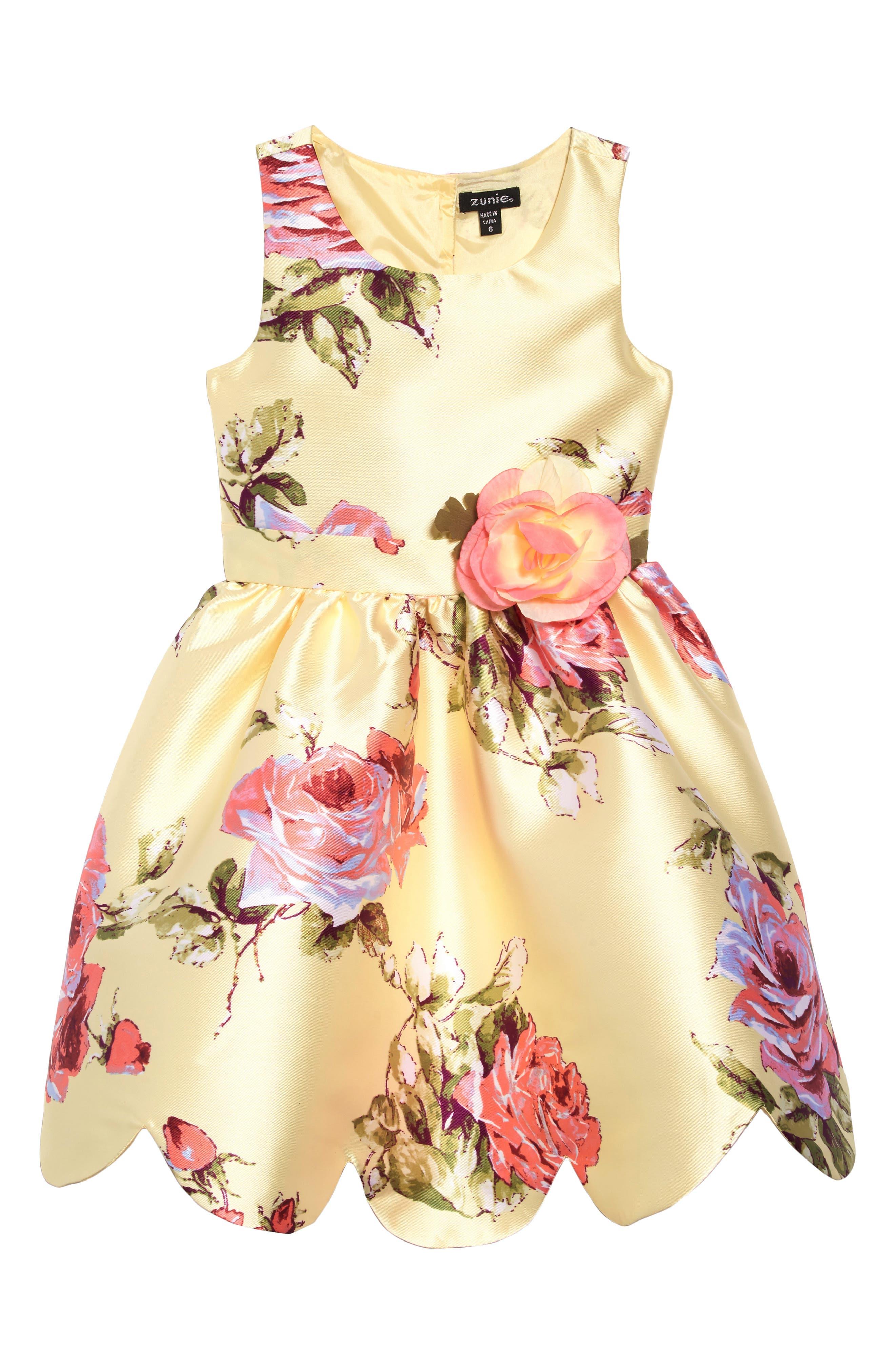 ZUNIE, Floral Print Scalloped Hem Dress, Main thumbnail 1, color, YELLOW FLORAL