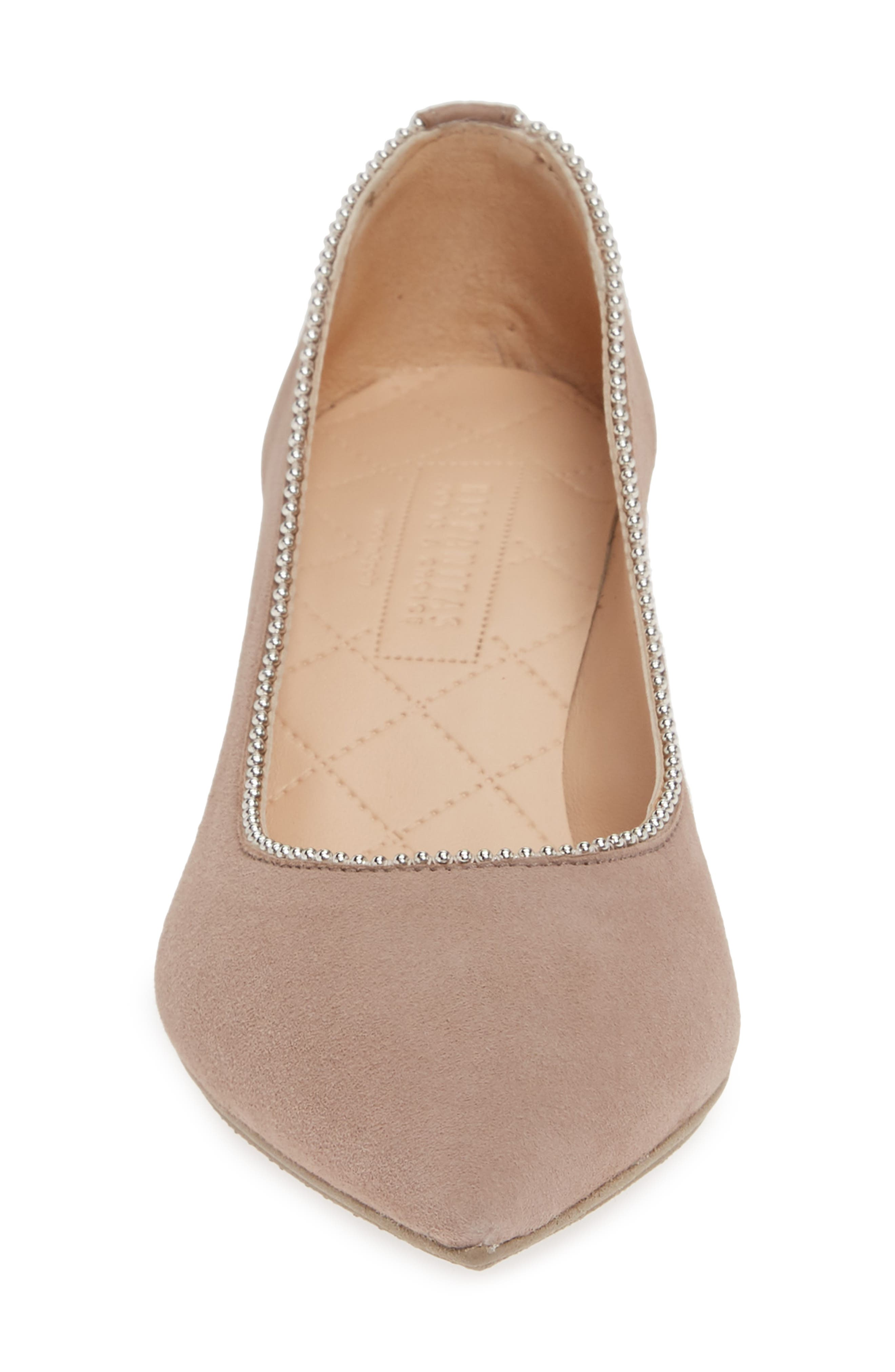HISPANITAS, Carina Ball Chain Pointy Toe Pump, Alternate thumbnail 4, color, BEIGE SUEDE