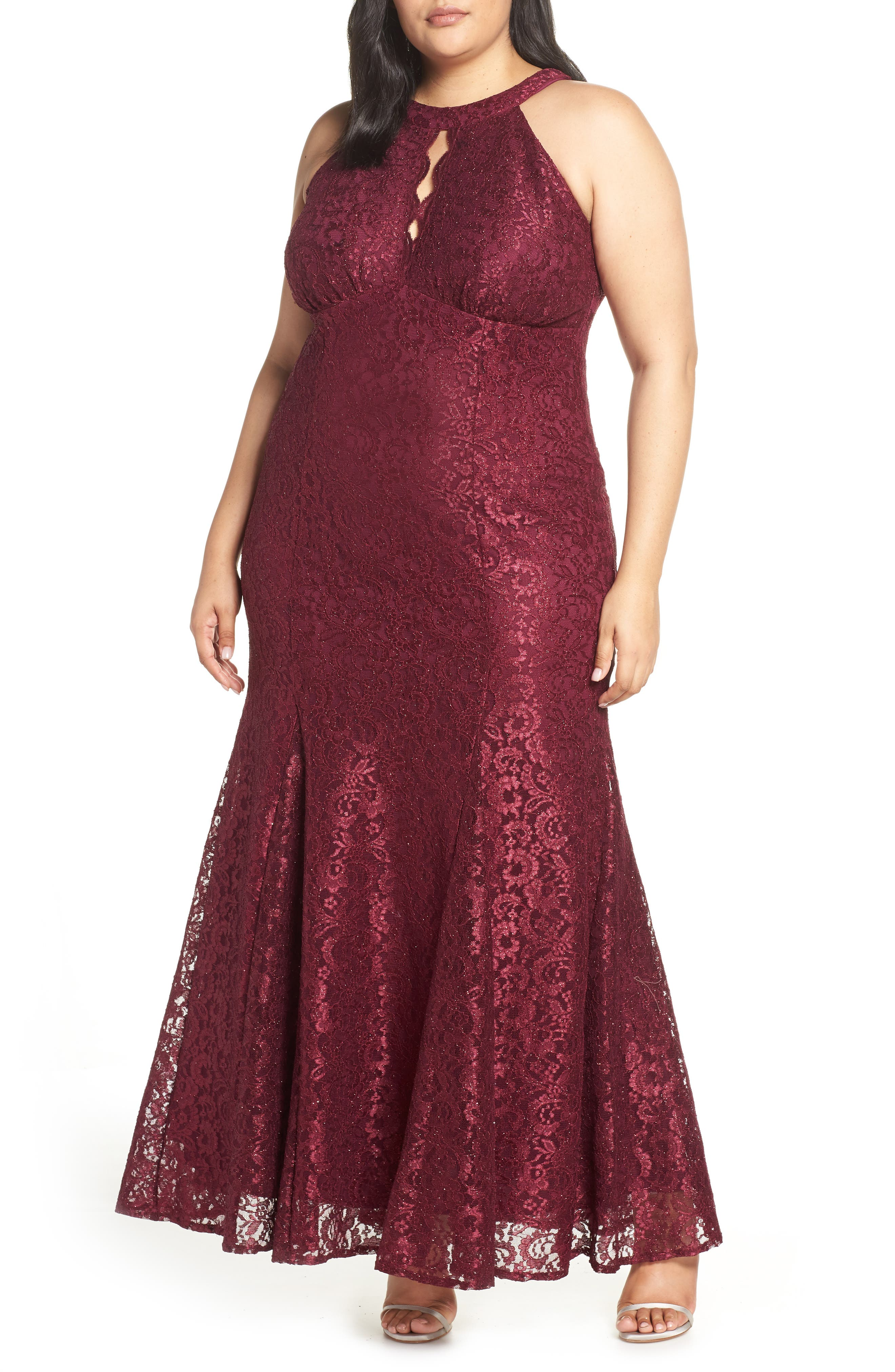 Plus Size Morgan & Co. Glitter Lace Trumpet Gown, Burgundy