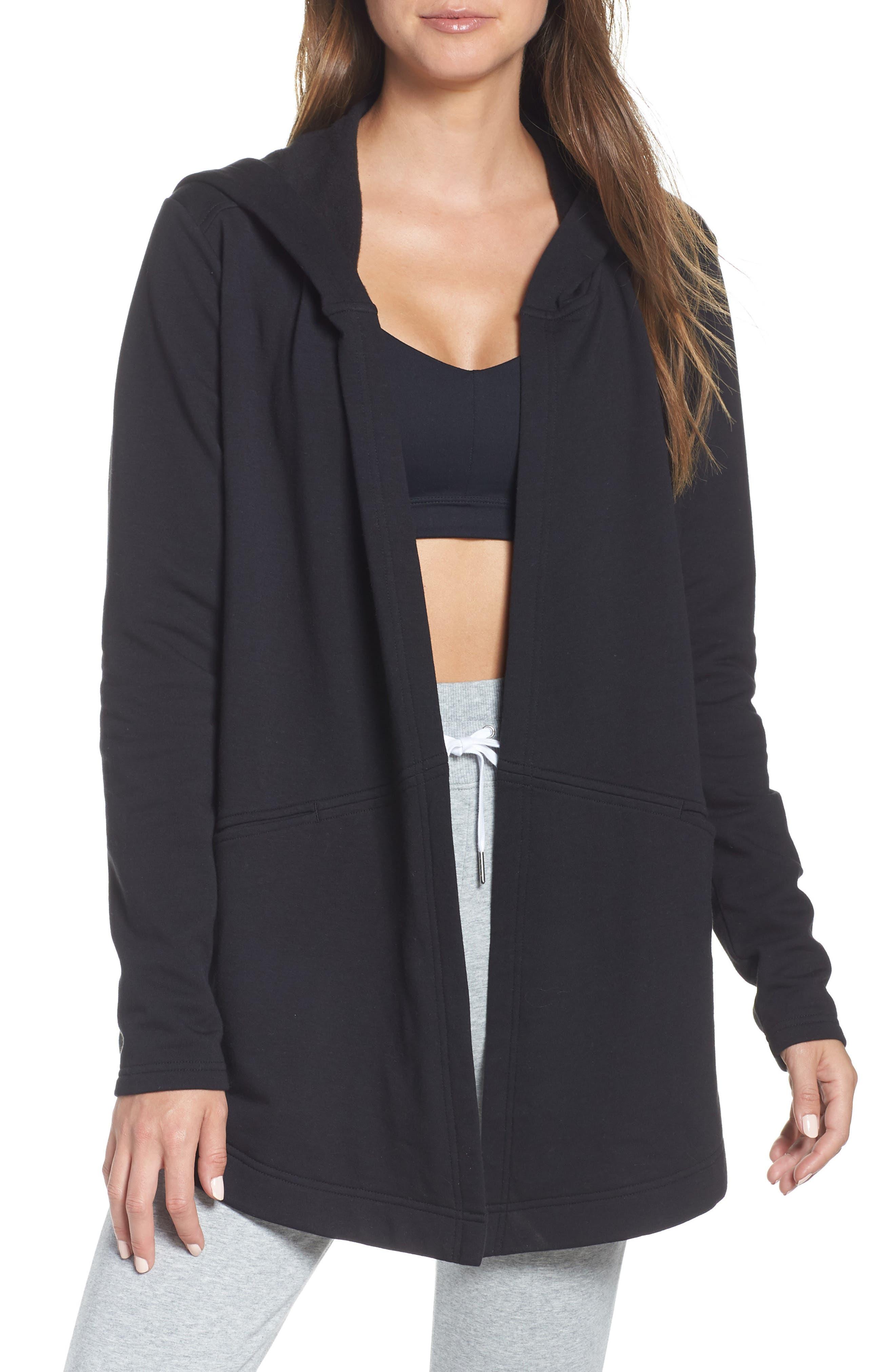 ZELLA Ria Hooded Cardigan, Main, color, BLACK FLEECE