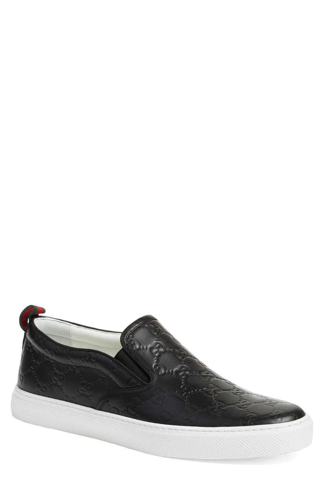 GUCCI, Dublin Slip-On Sneaker, Main thumbnail 1, color, NERO EMBOSSED LEATHER