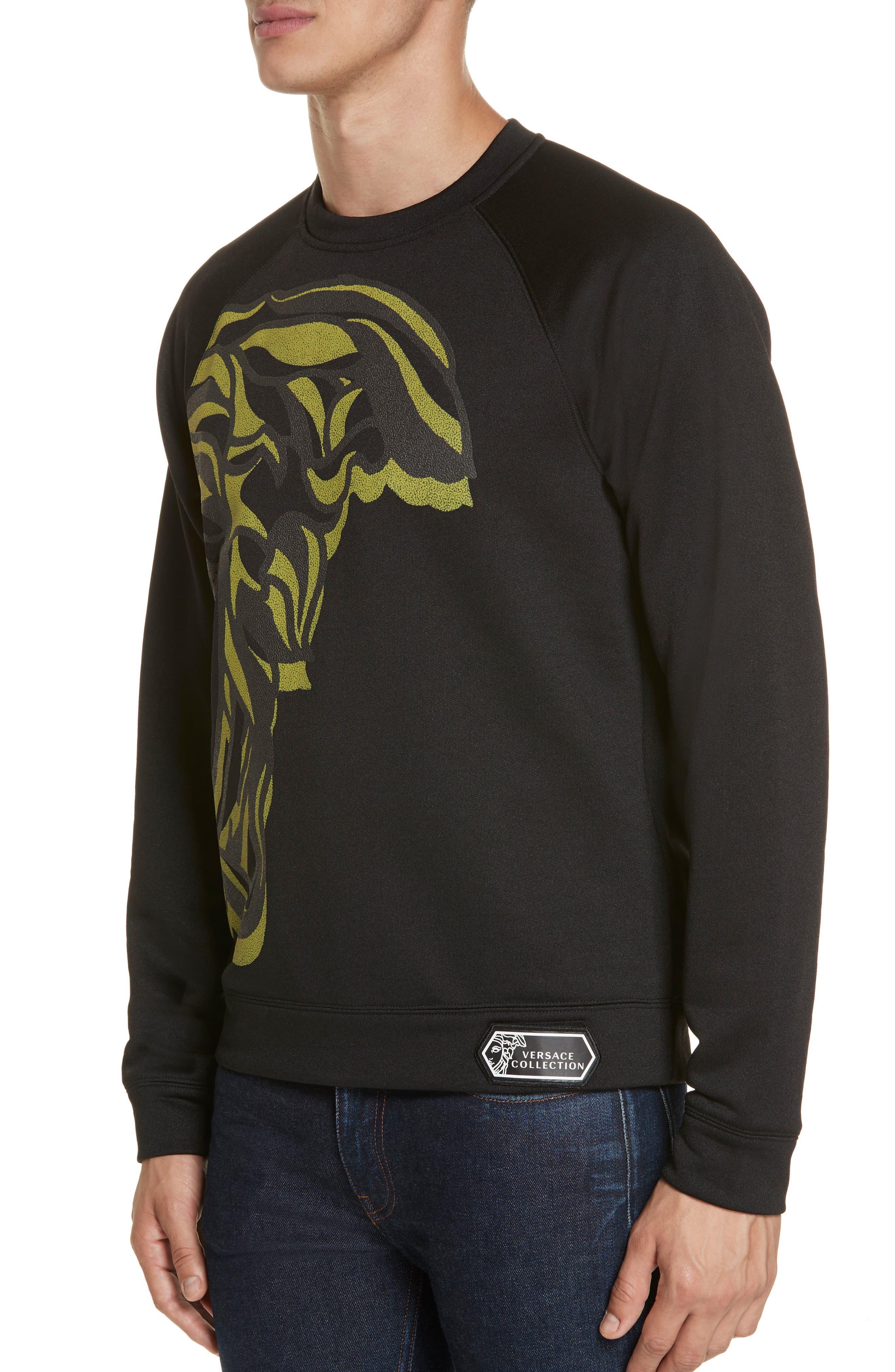 VERSACE COLLECTION, Medusa Print Sweatshirt, Alternate thumbnail 4, color, BLACK/ PAINT