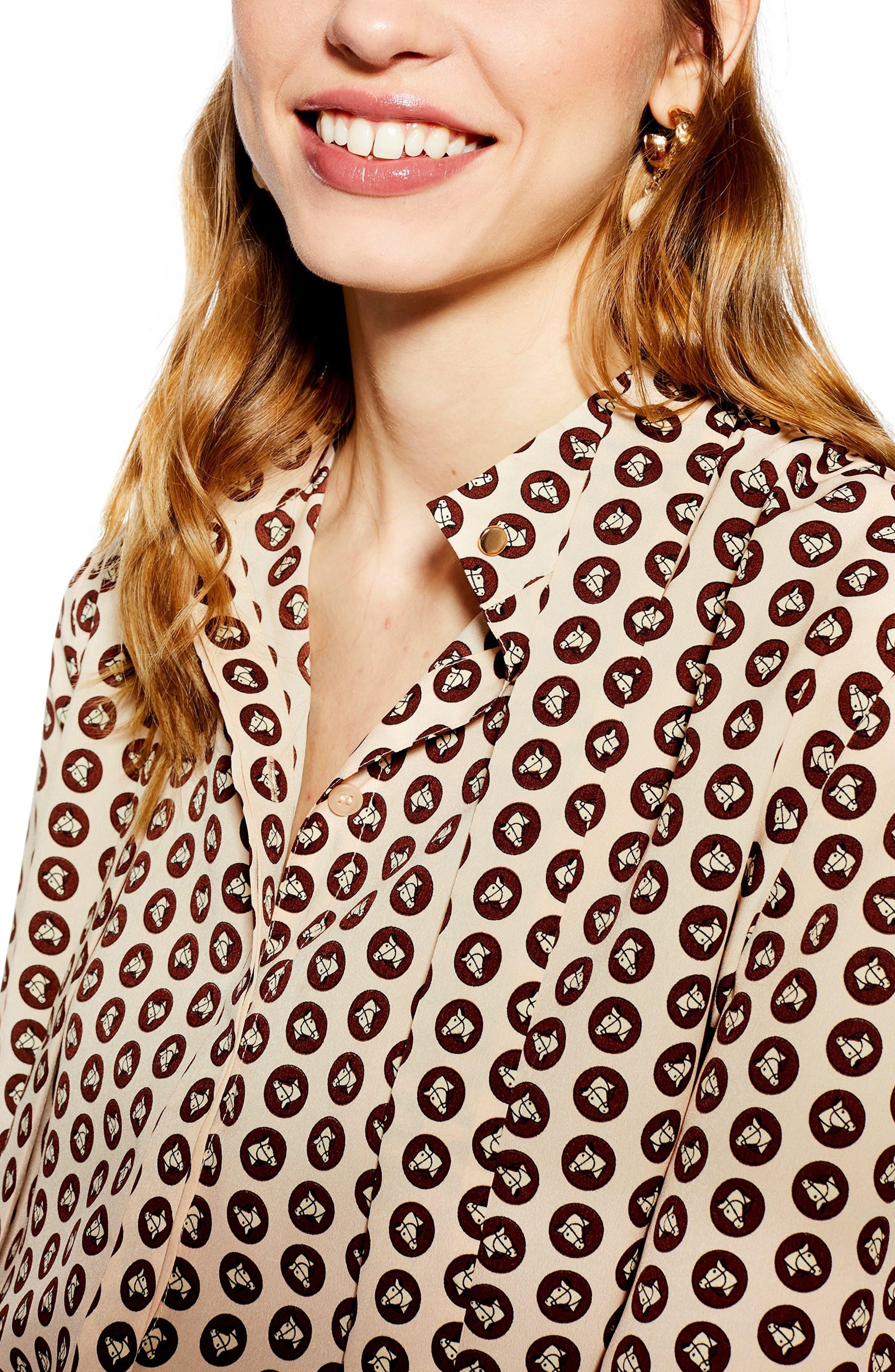 TOPSHOP, Horse Coin Shirt, Alternate thumbnail 4, color, PINK MULTI