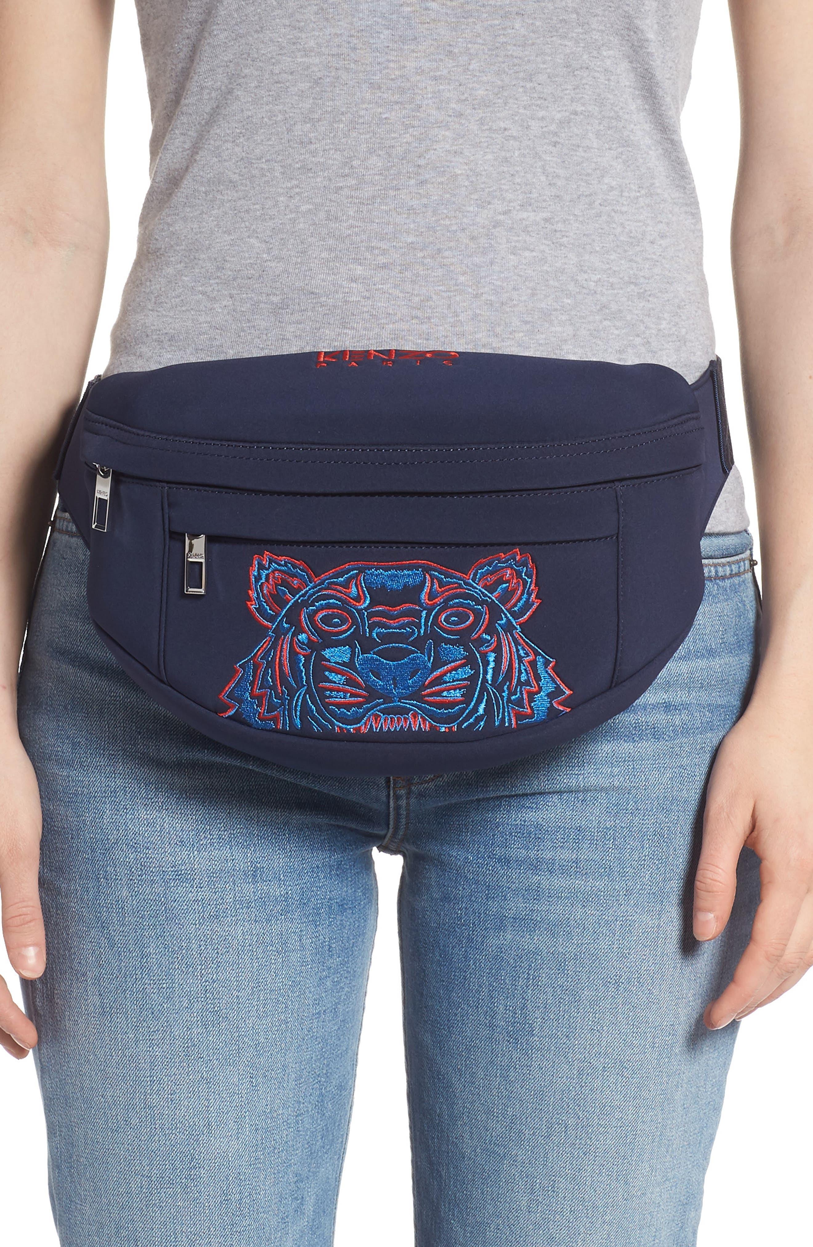 KENZO, Embroidered Tiger Belt Bag, Alternate thumbnail 2, color, 76A NAVY BLUE