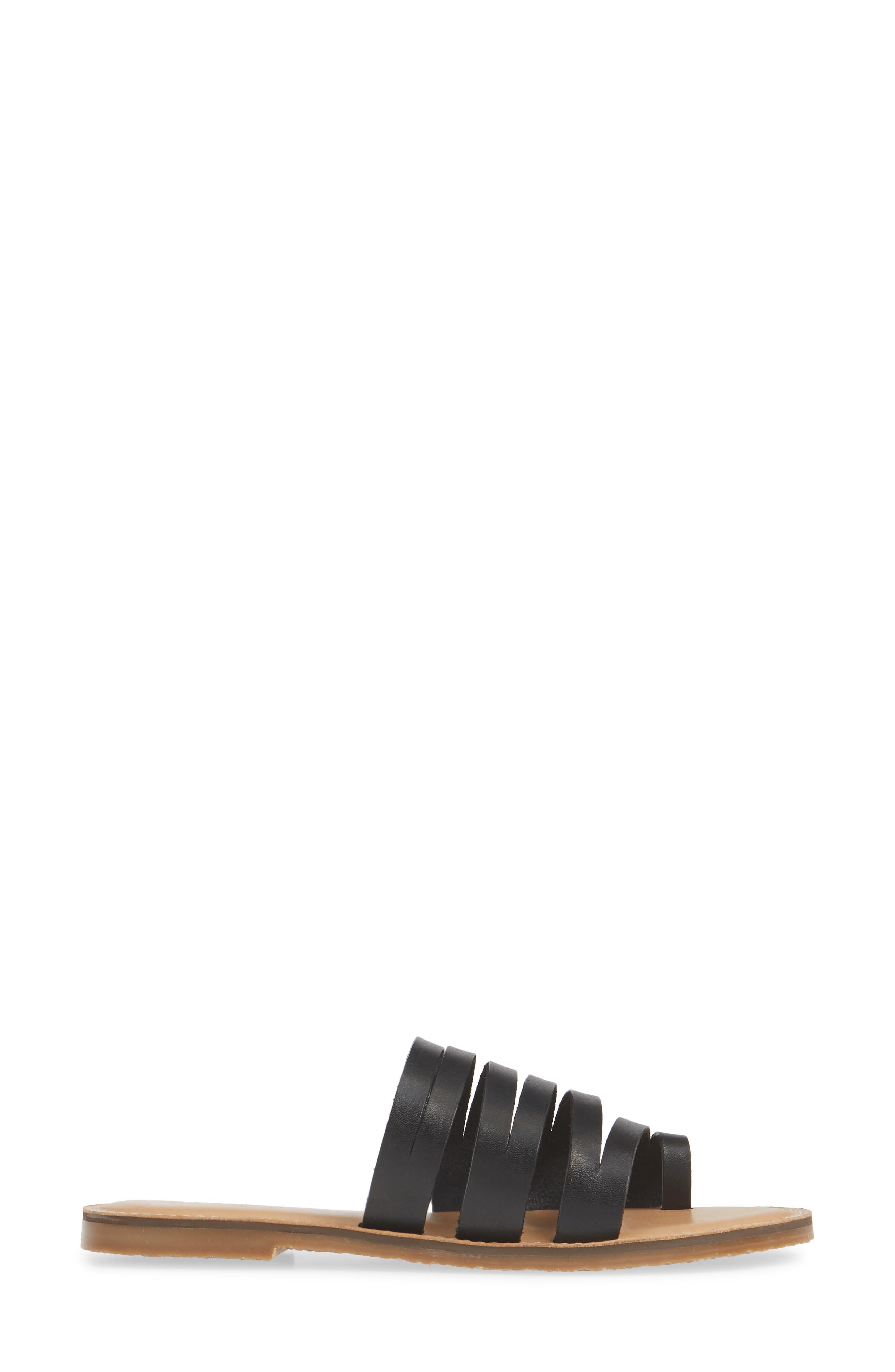 CASLON<SUP>®</SUP>, Owen Slide Sandal, Alternate thumbnail 4, color, BLACK LEATHER
