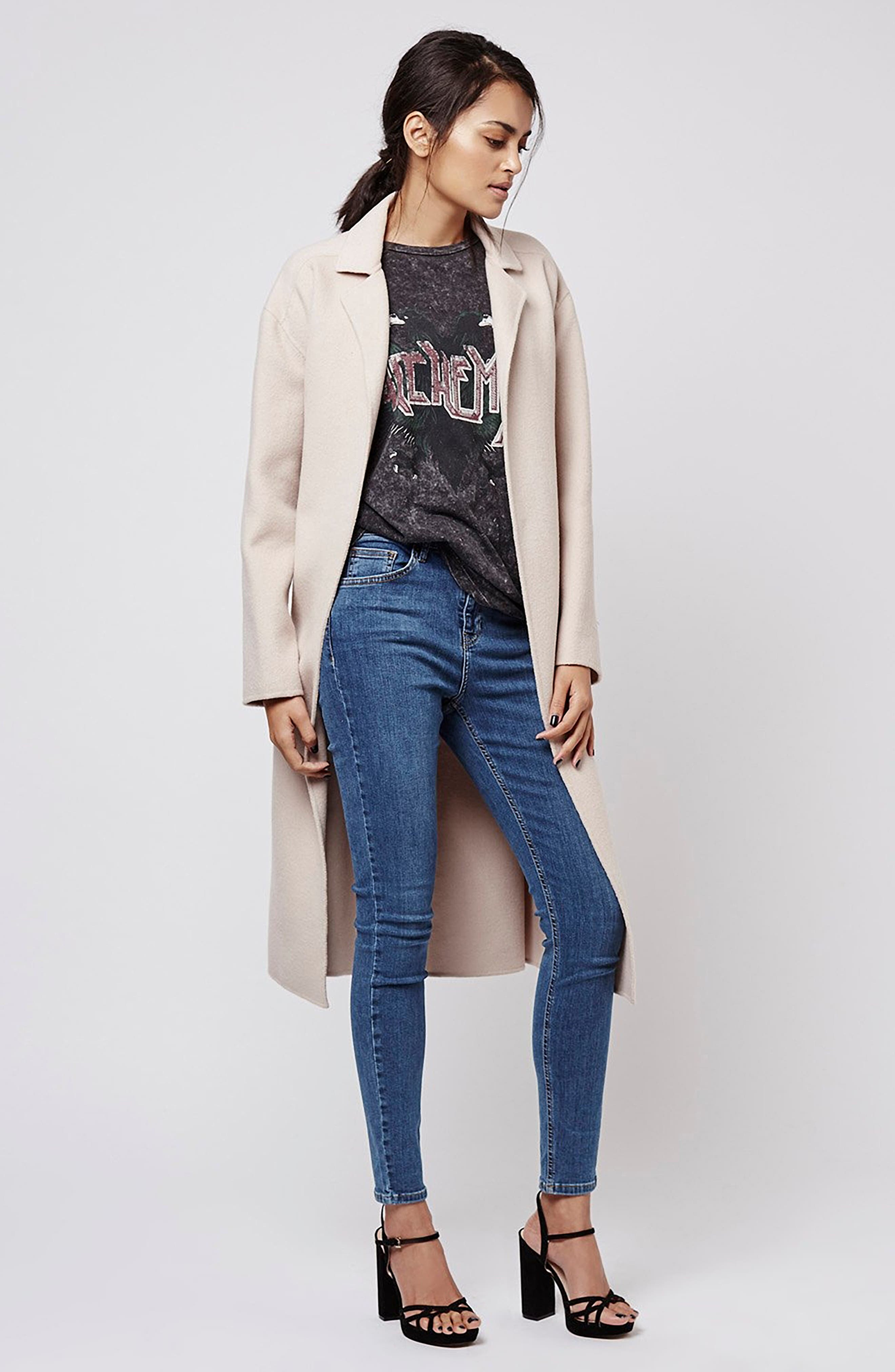 TOPSHOP, Jamie High Waist Skinny Jeans, Alternate thumbnail 5, color, MID BLUE