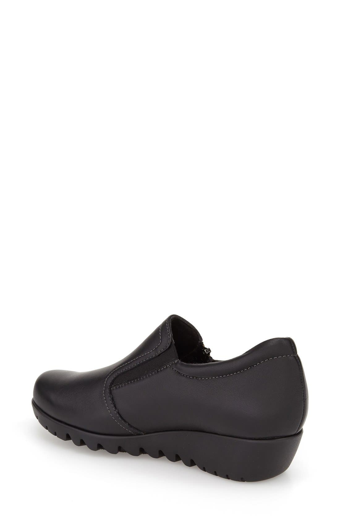 MUNRO, Napoli Zip Bootie, Alternate thumbnail 2, color, BLACK LEATHER