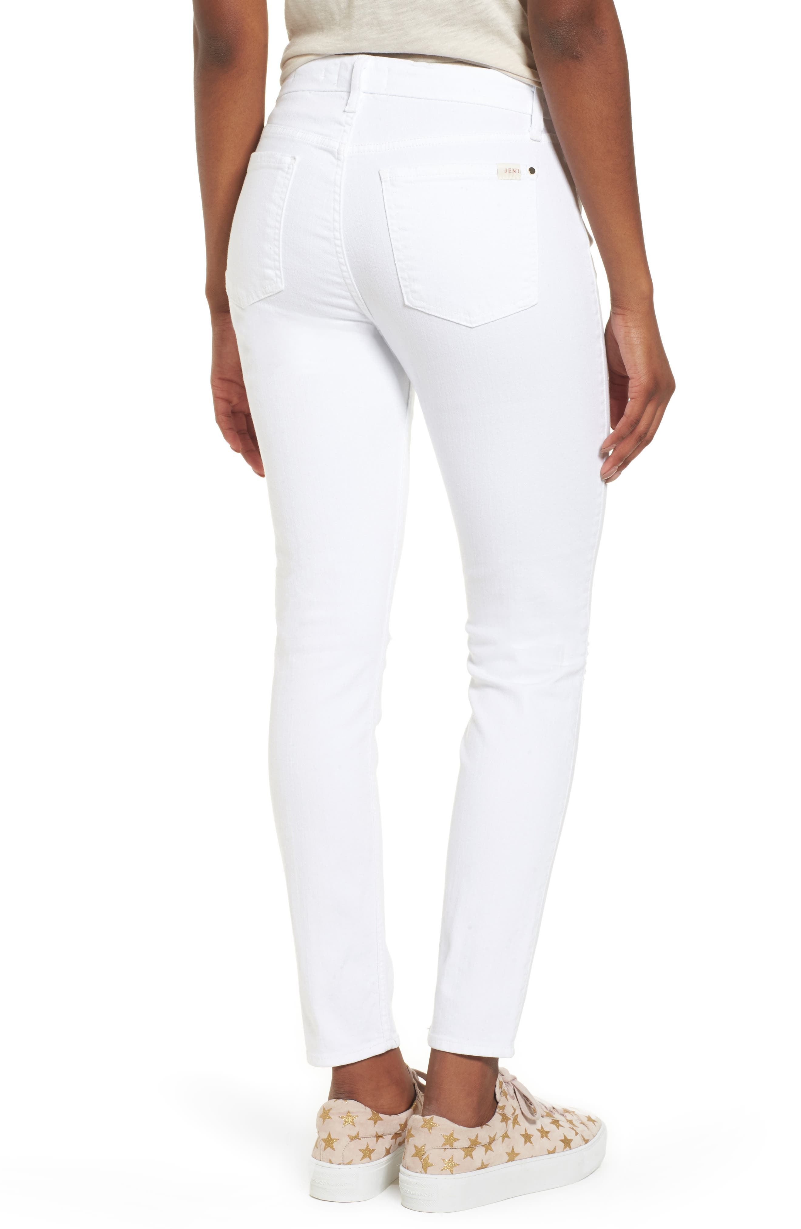 JEN7 BY 7 FOR ALL MANKIND, Ankle Skinny Jeans, Alternate thumbnail 2, color, WHITE 2