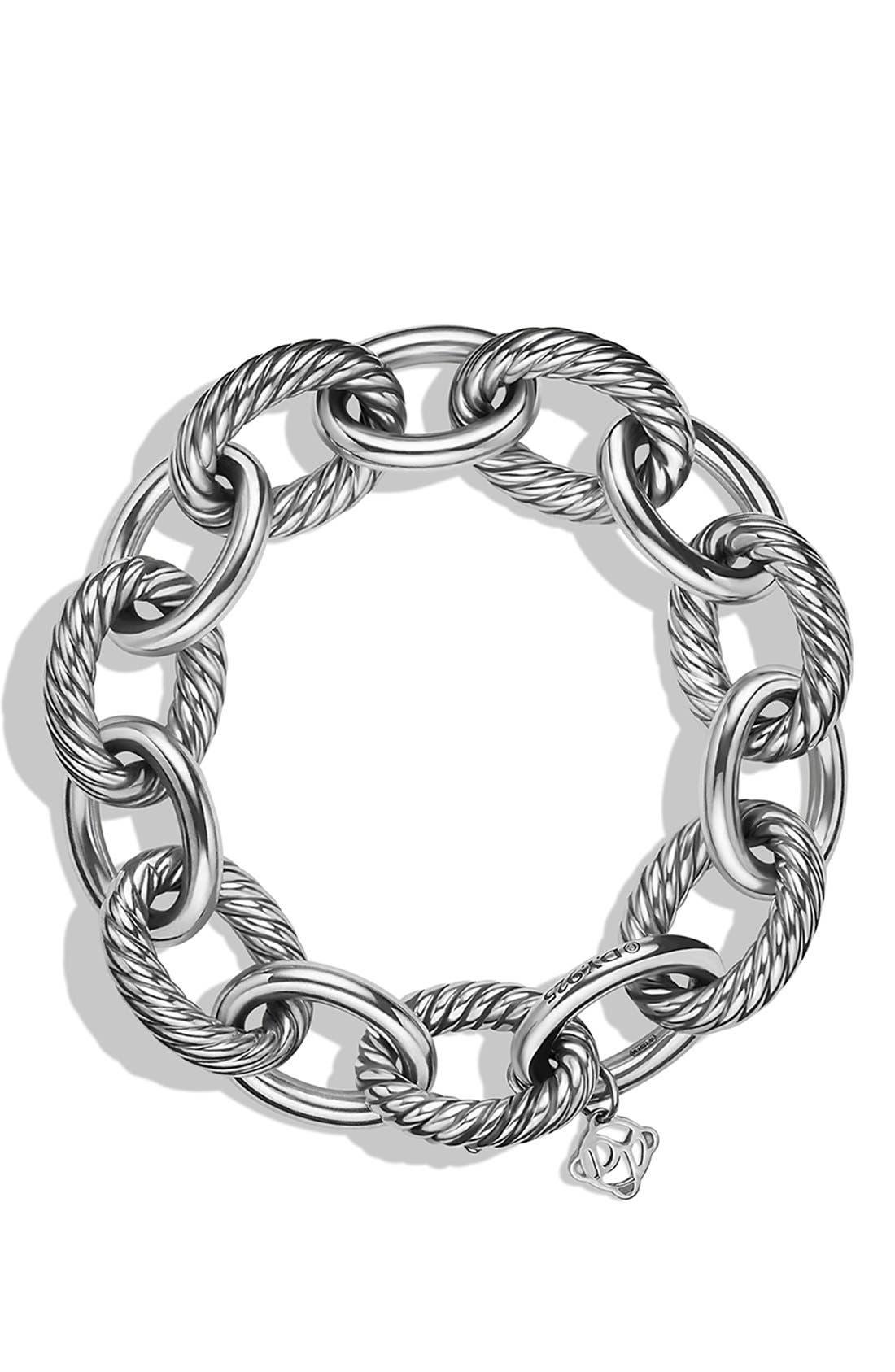 DAVID YURMAN, 'Oval' Extra Large Link Bracelet, Alternate thumbnail 2, color, SILVER
