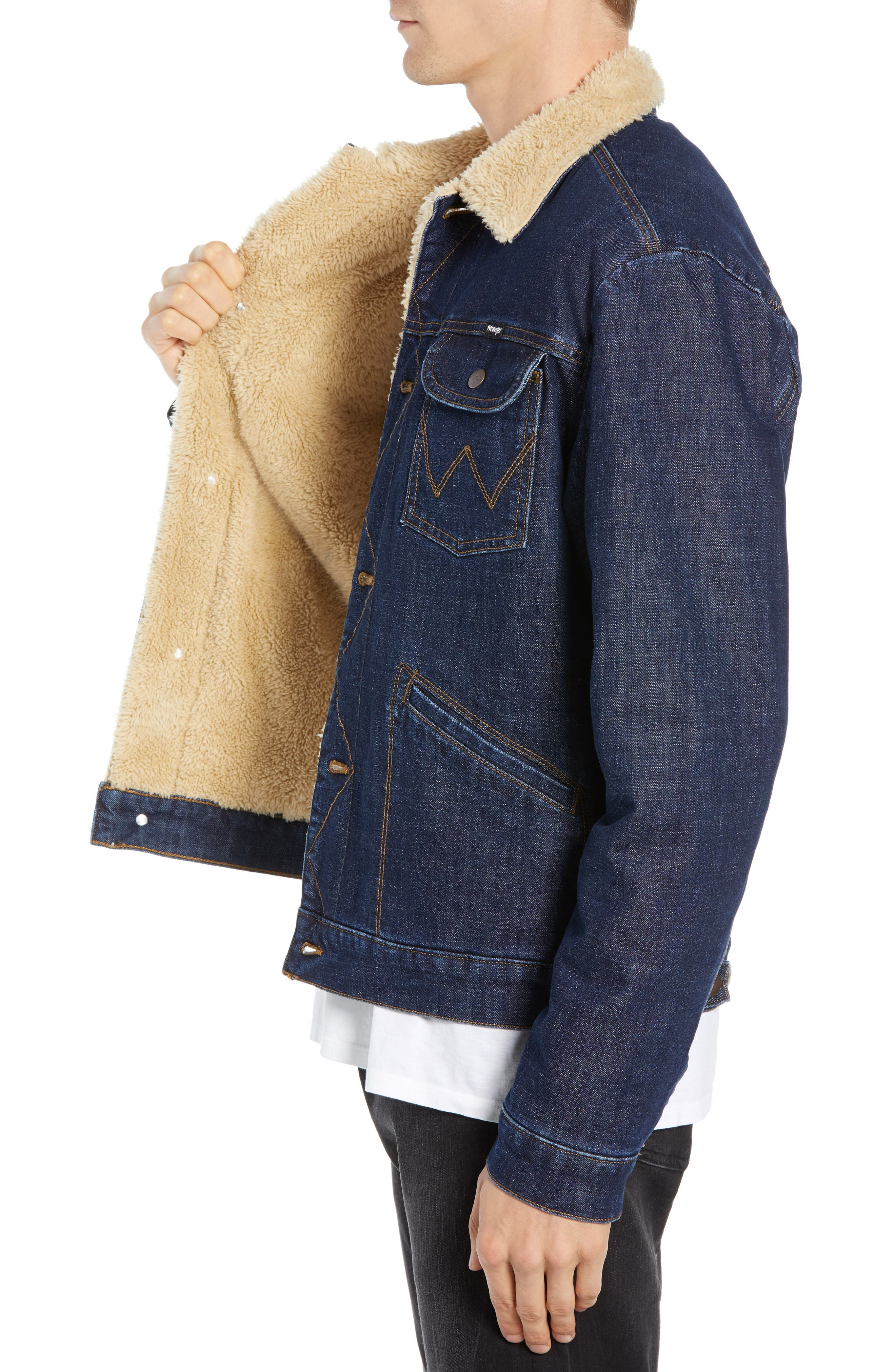 WRANGLER, Heritage Fleece Lined Denim Jacket, Alternate thumbnail 4, color, 472