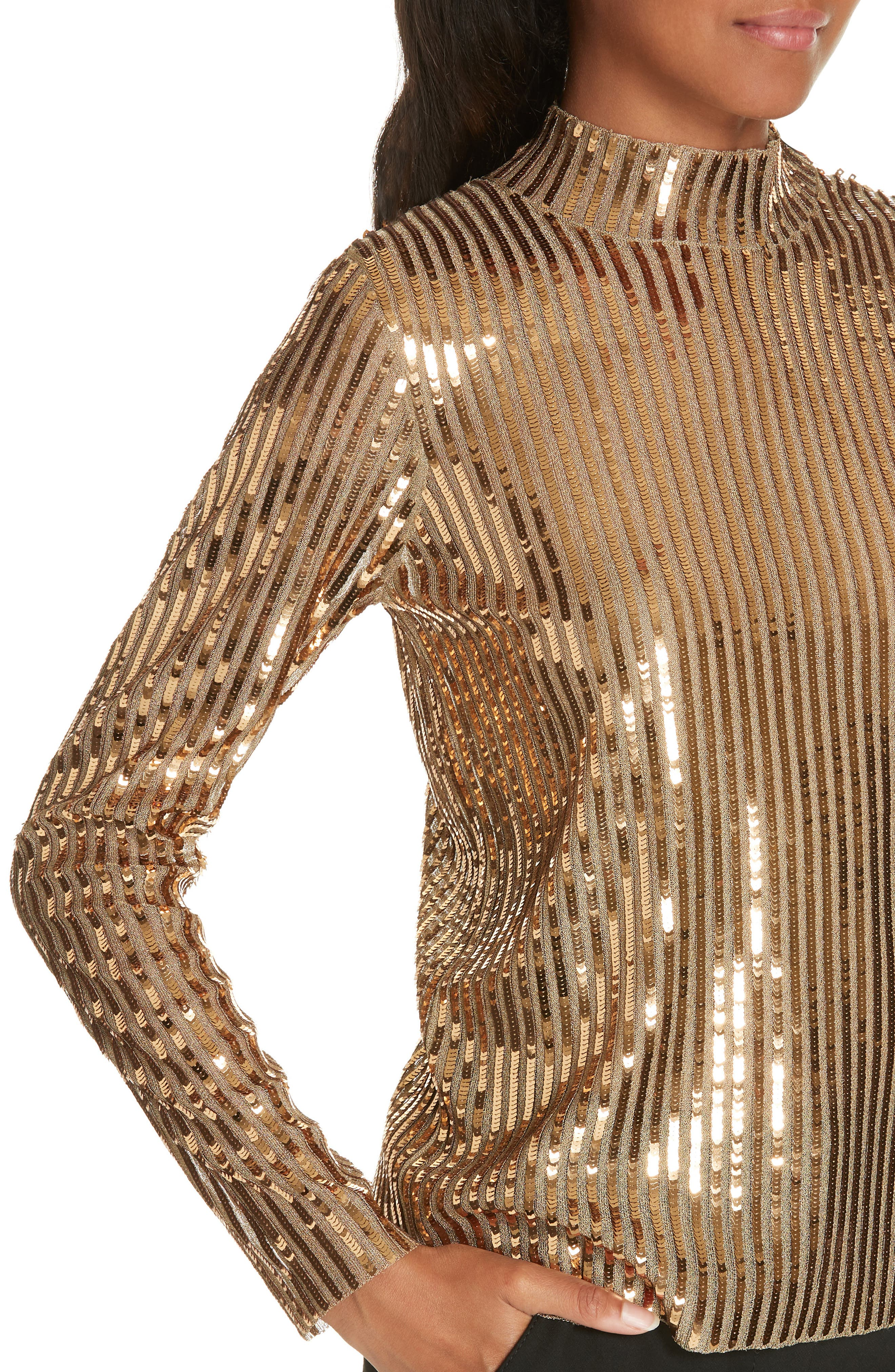 TANYA TAYLOR, Grace Gold Sequins Top, Alternate thumbnail 4, color, 712
