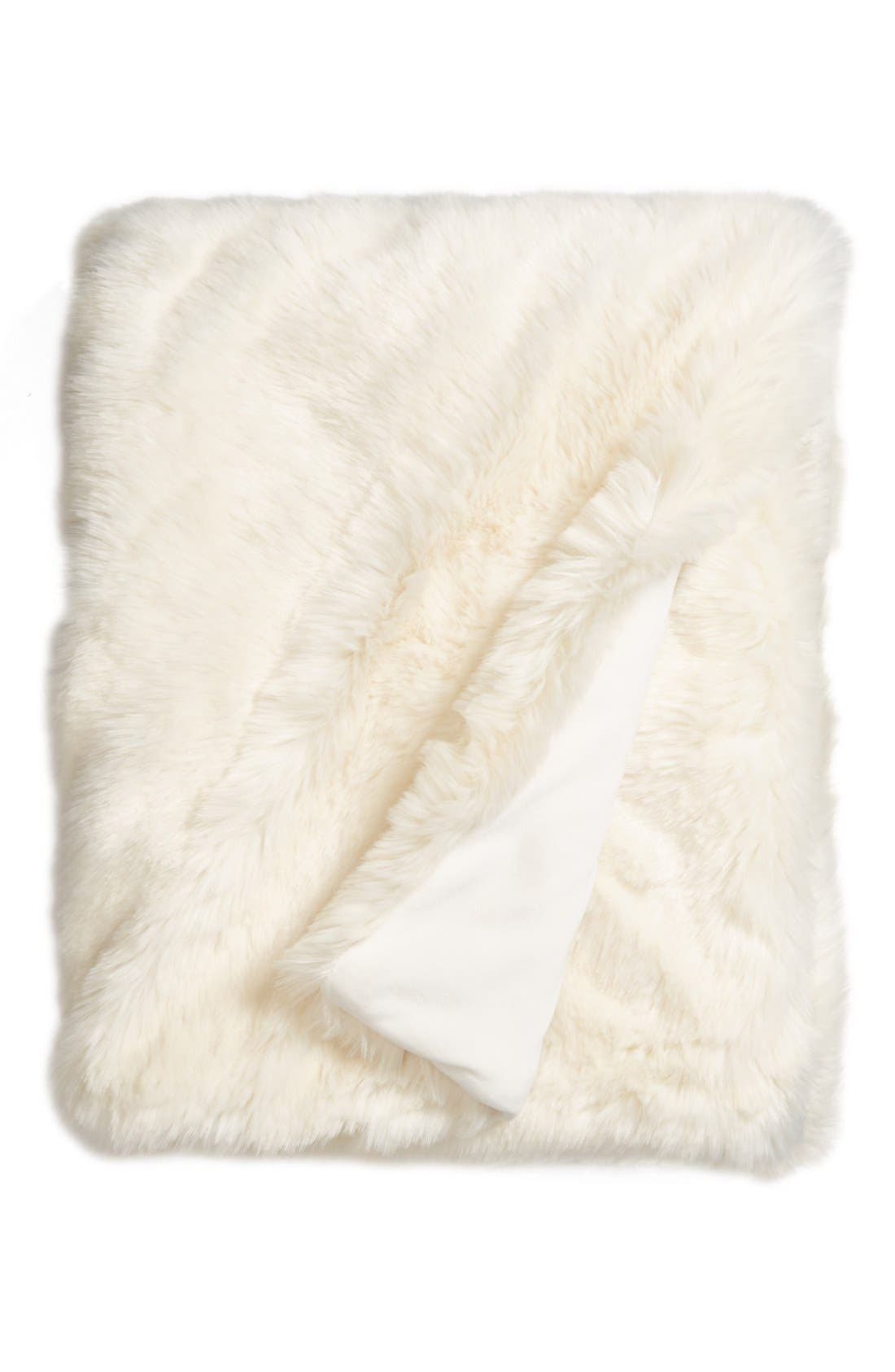 NORDSTROM AT HOME, Cuddle Up Faux Fur Throw Blanket, Main thumbnail 1, color, IVORY