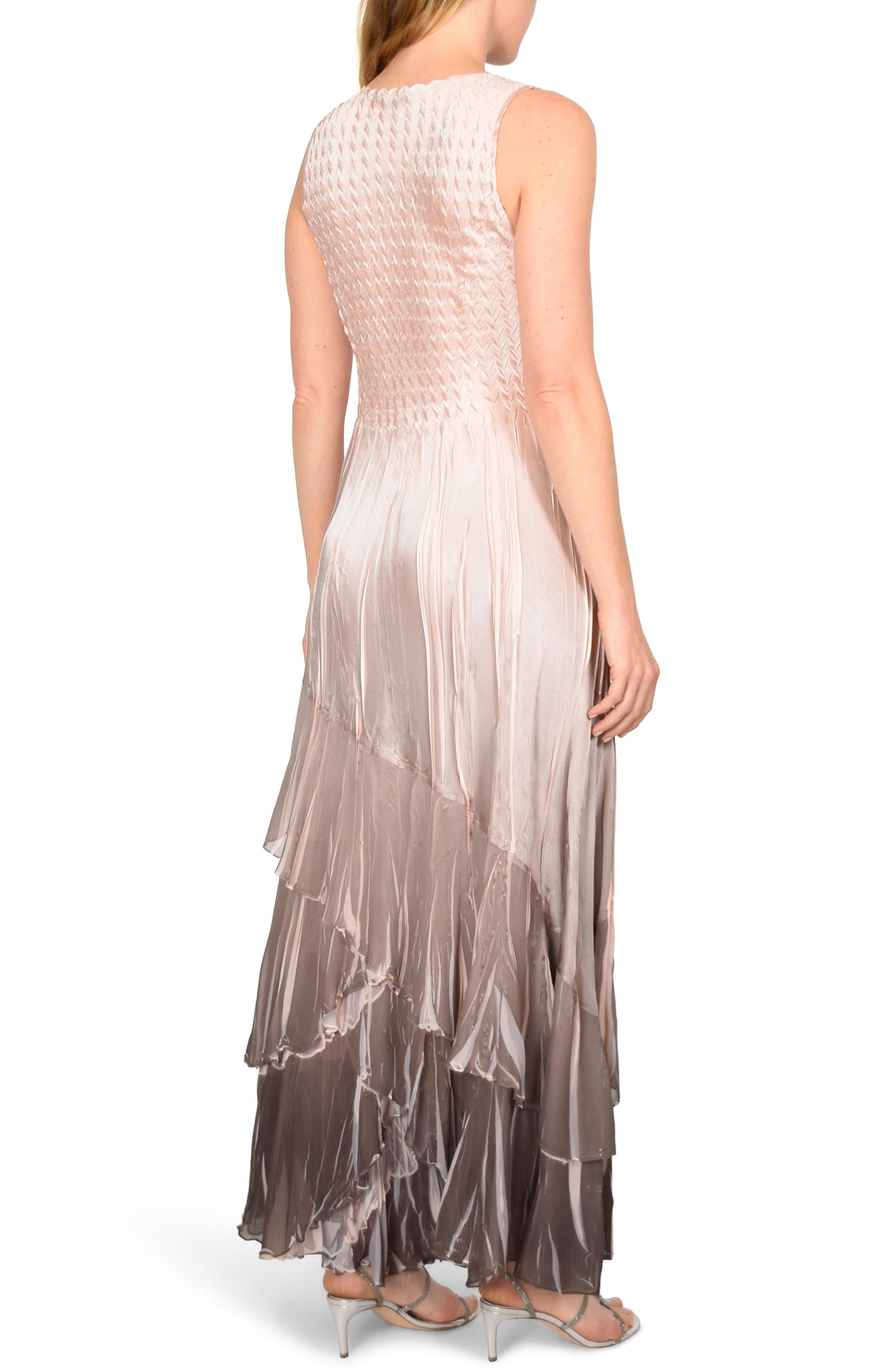 KOMAROV, Layered Maxi Dress with Wrap, Alternate thumbnail 2, color, VINTAGE ROSE CAFE OMBRE