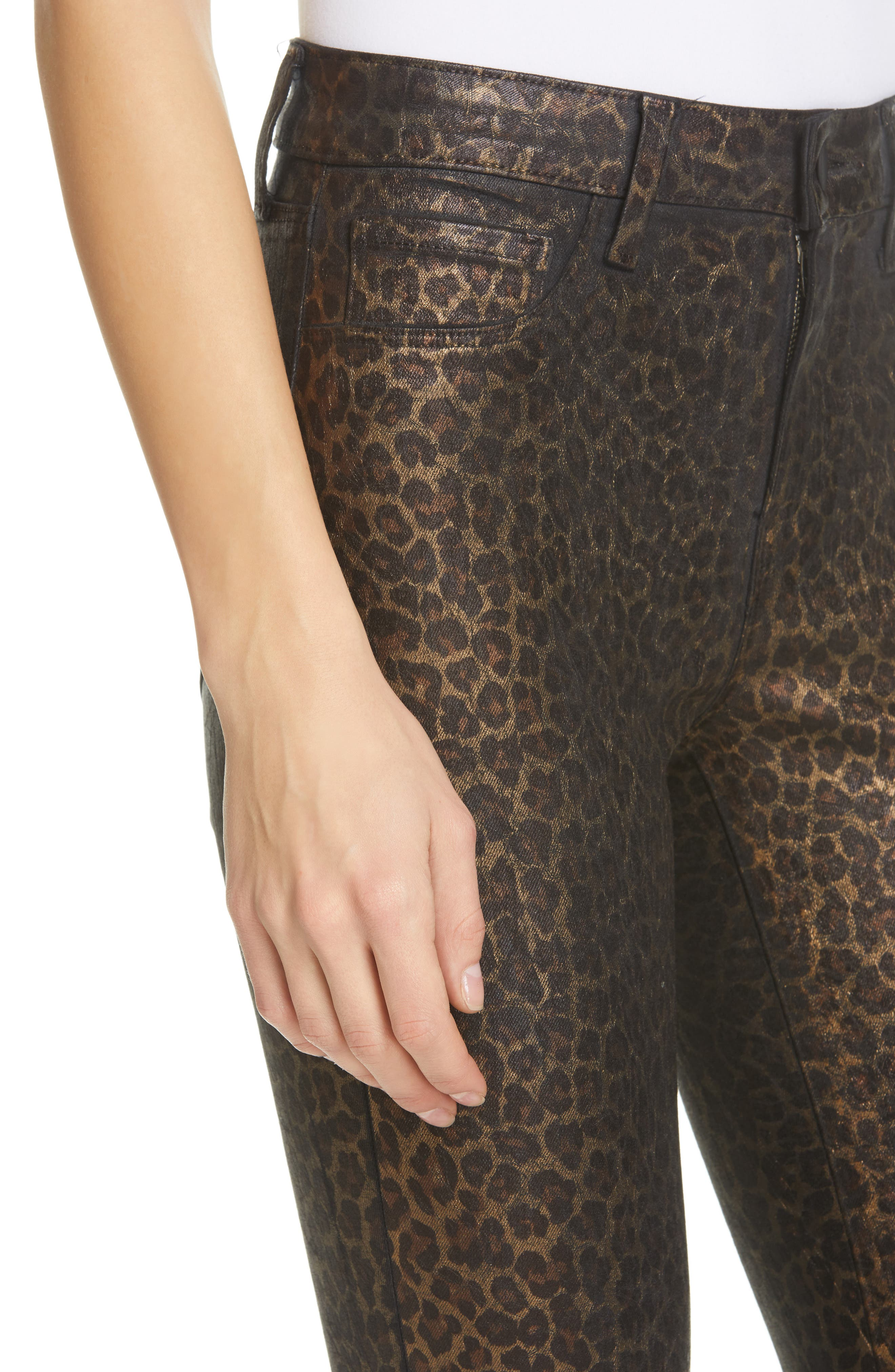 L'AGENCE, Margot Metallic Coated Crop Skinny Jeans, Alternate thumbnail 5, color, BLACK CHEETAH CRACKLE FOIL
