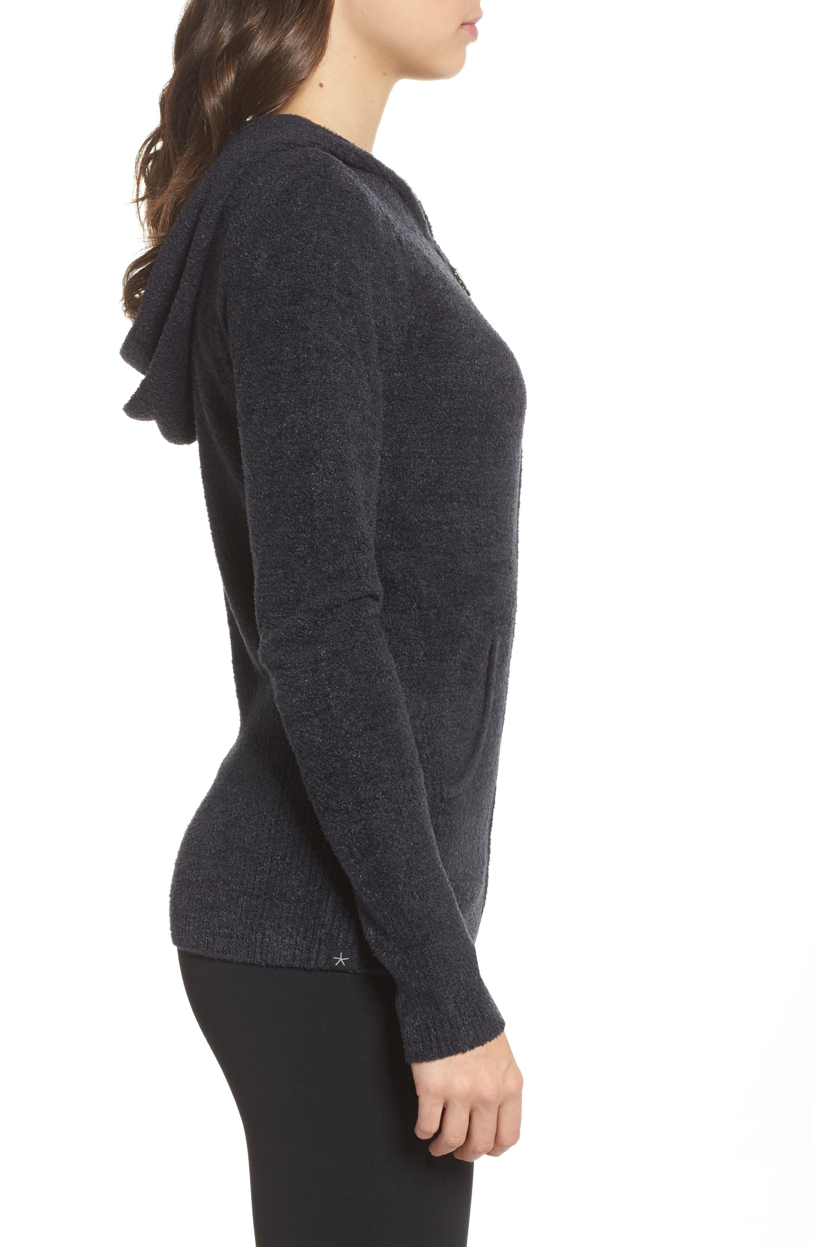 BAREFOOT DREAMS<SUP>®</SUP>, Cozychic Lite<sup>®</sup> Lounge Hoodie, Alternate thumbnail 3, color, BLACK