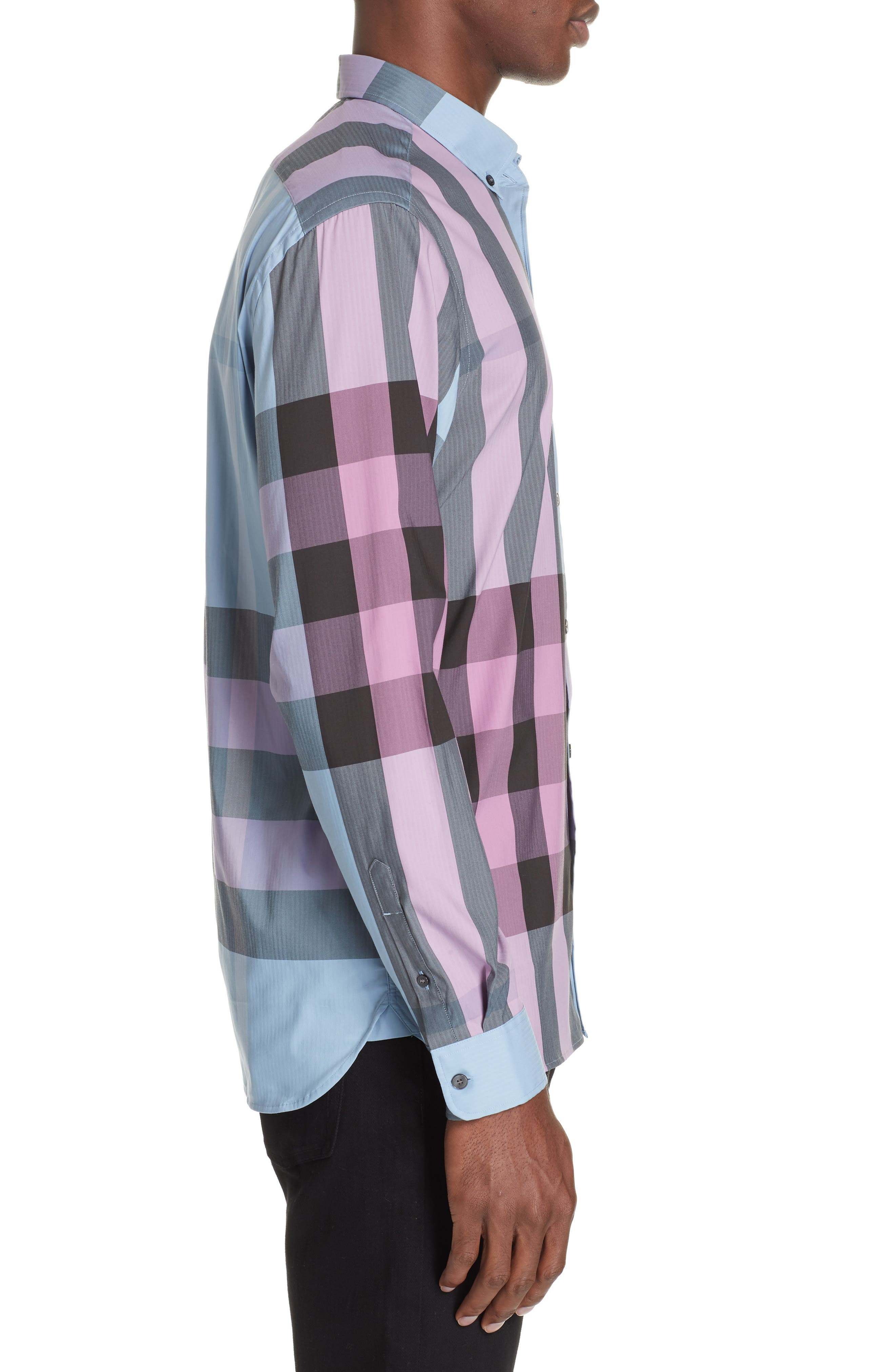 BURBERRY, Thornaby Slim Fit Check Sport Shirt, Alternate thumbnail 4, color, 400