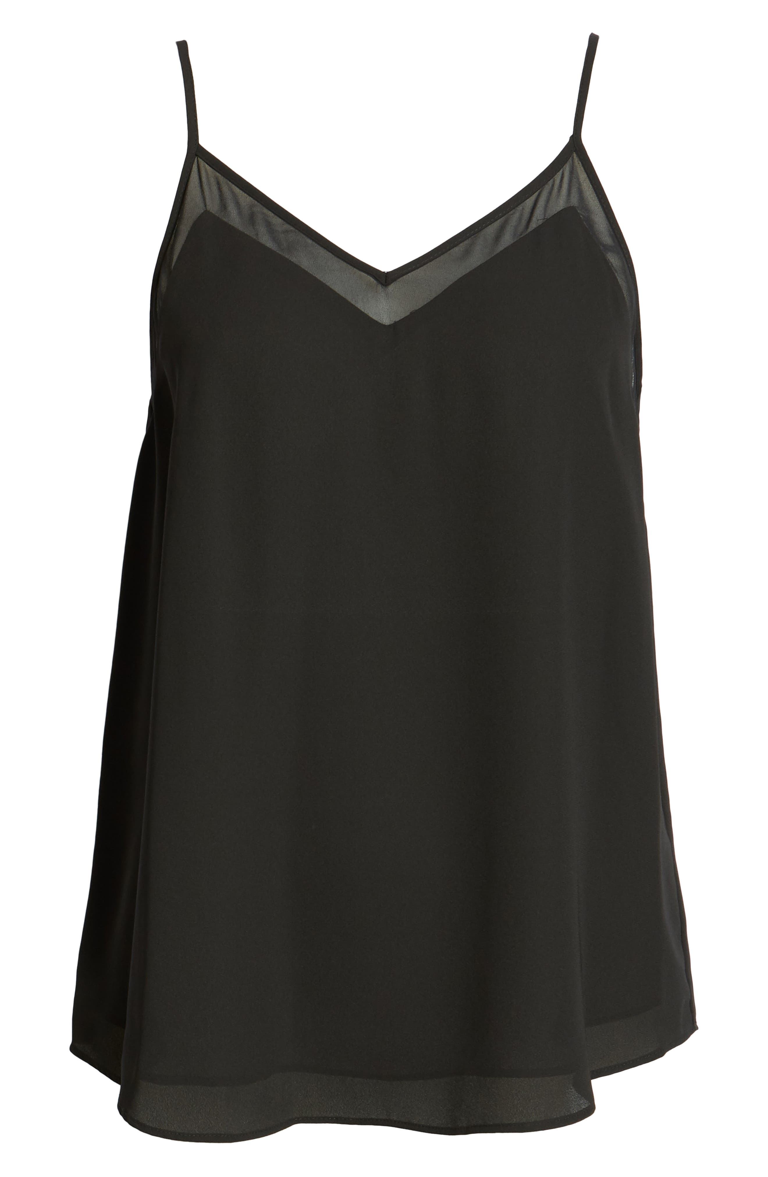 1.STATE, Chiffon Inset Camisole, Alternate thumbnail 3, color, RICH BLACK