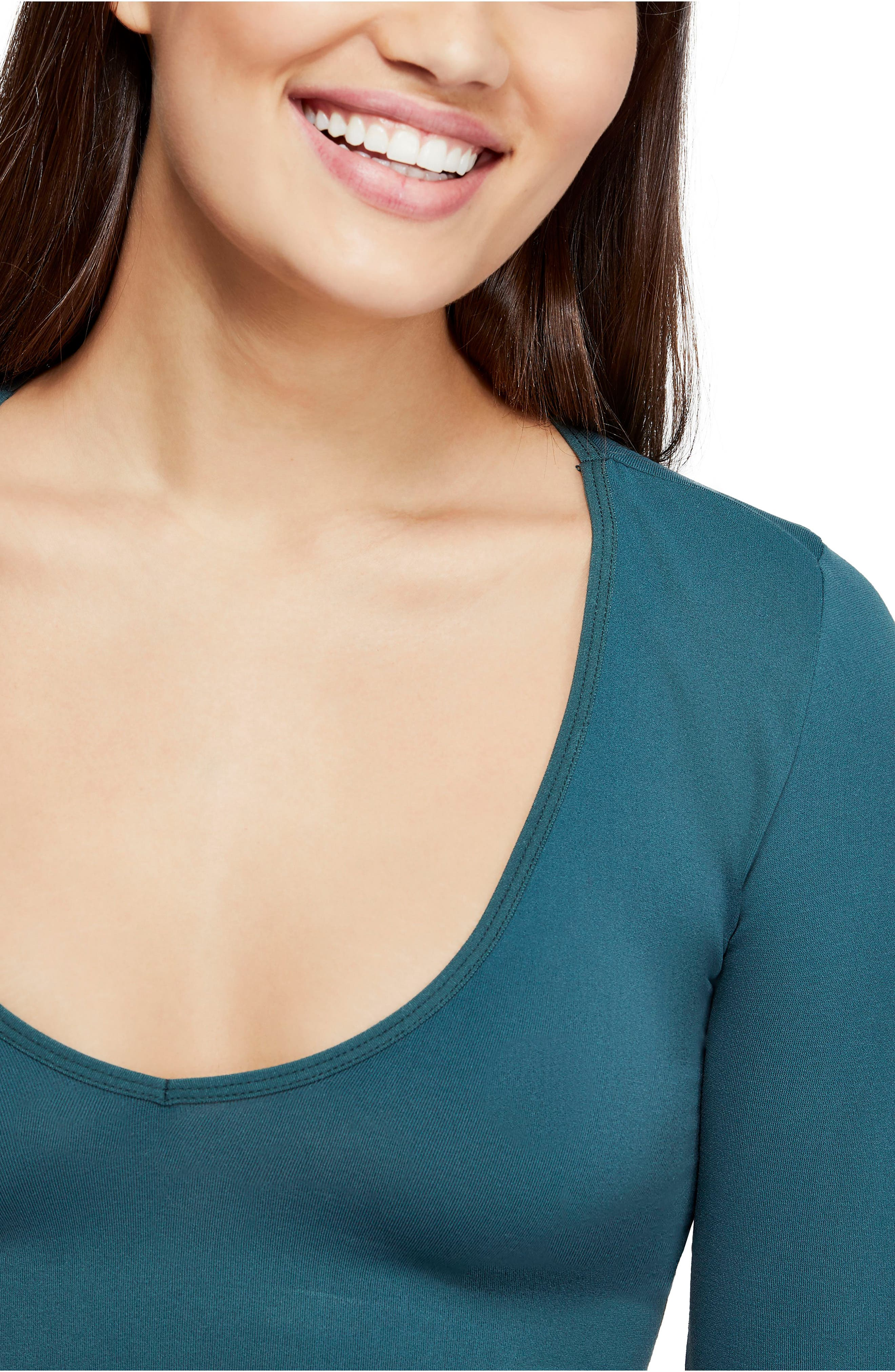 BDG, Urban Outfitters Plunging Crop Top, Alternate thumbnail 4, color, DARK GREEN