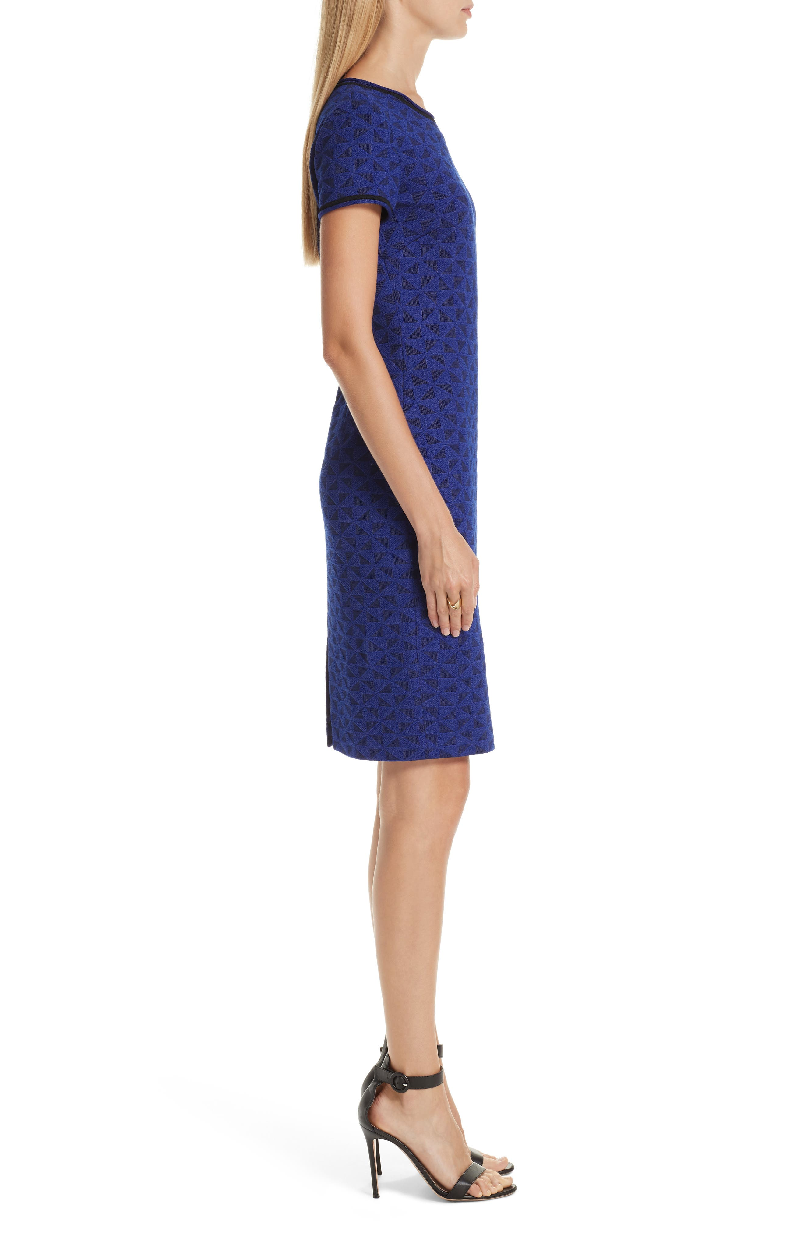 ST. JOHN COLLECTION, Micro Geo Blister Knit Sheath Dress, Alternate thumbnail 4, color, CAVIAR/ SAPPHIRE