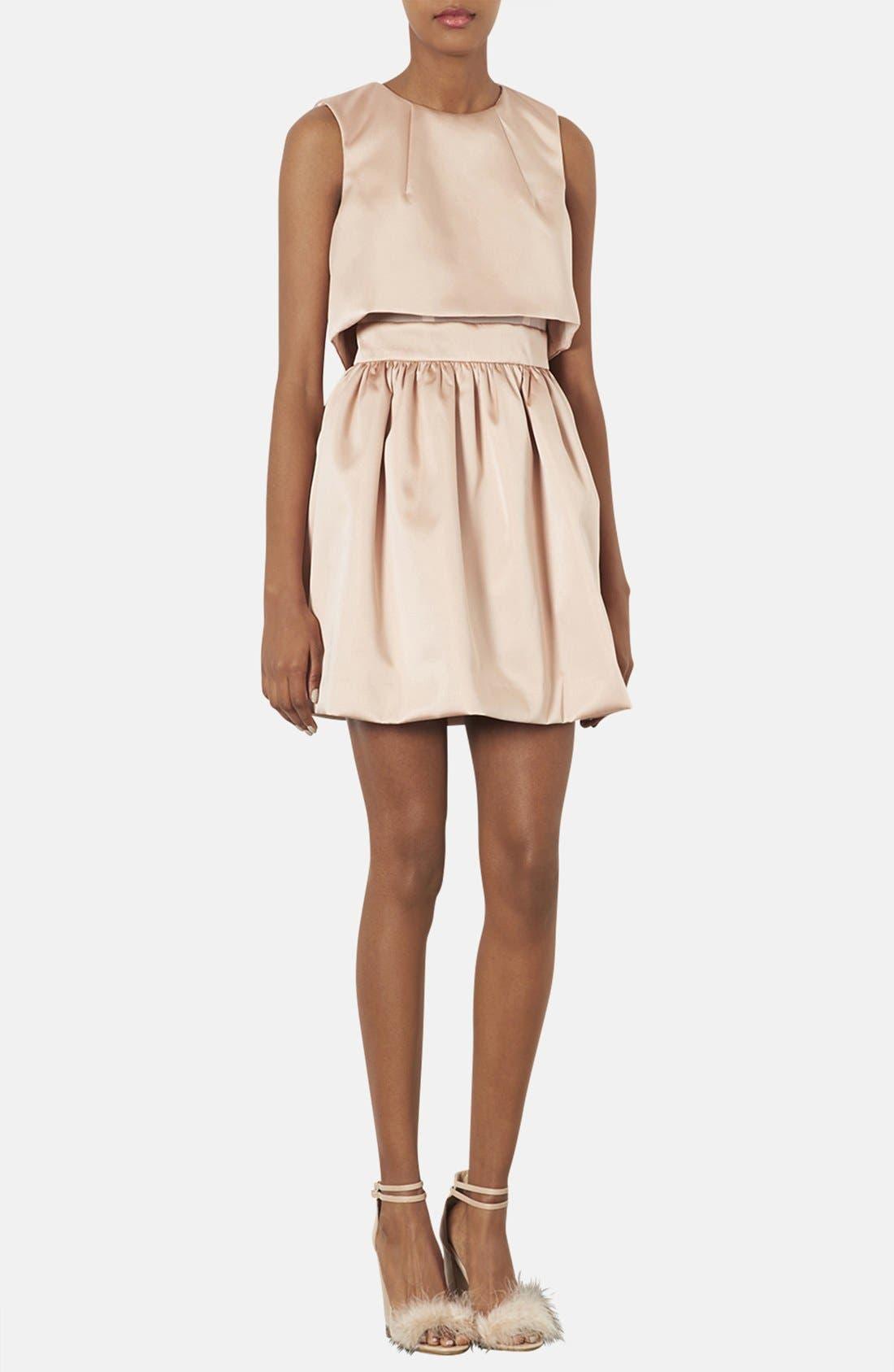 TOPSHOP, 'Duchess' Crop Overlay Satin Skater Dress, Main thumbnail 1, color, 250