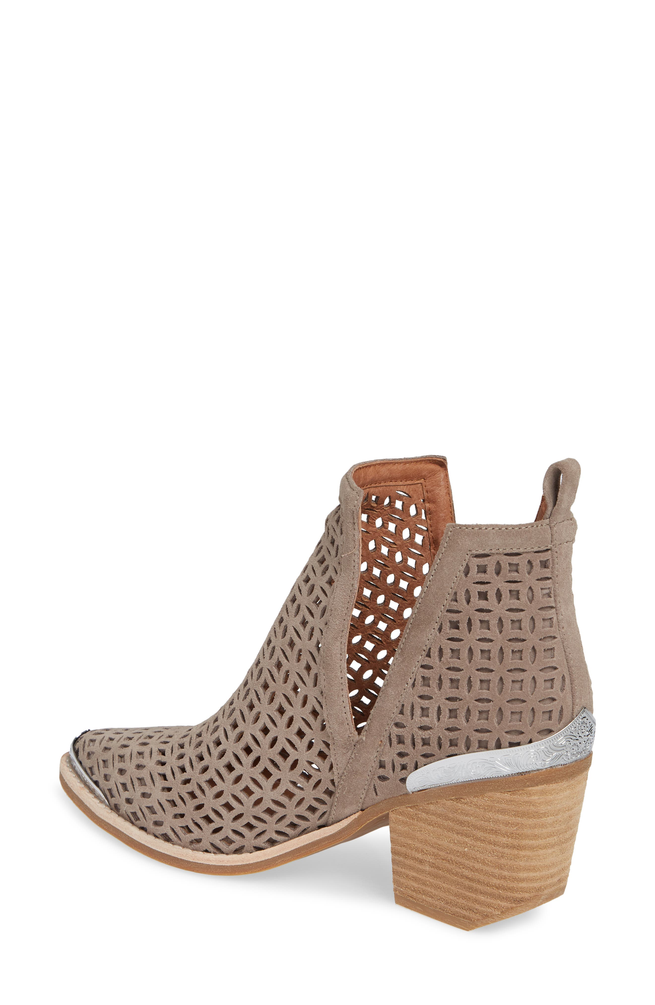 JEFFREY CAMPBELL, Cromwell-C2 Perforated Bootie, Alternate thumbnail 2, color, TAUPE SUEDE