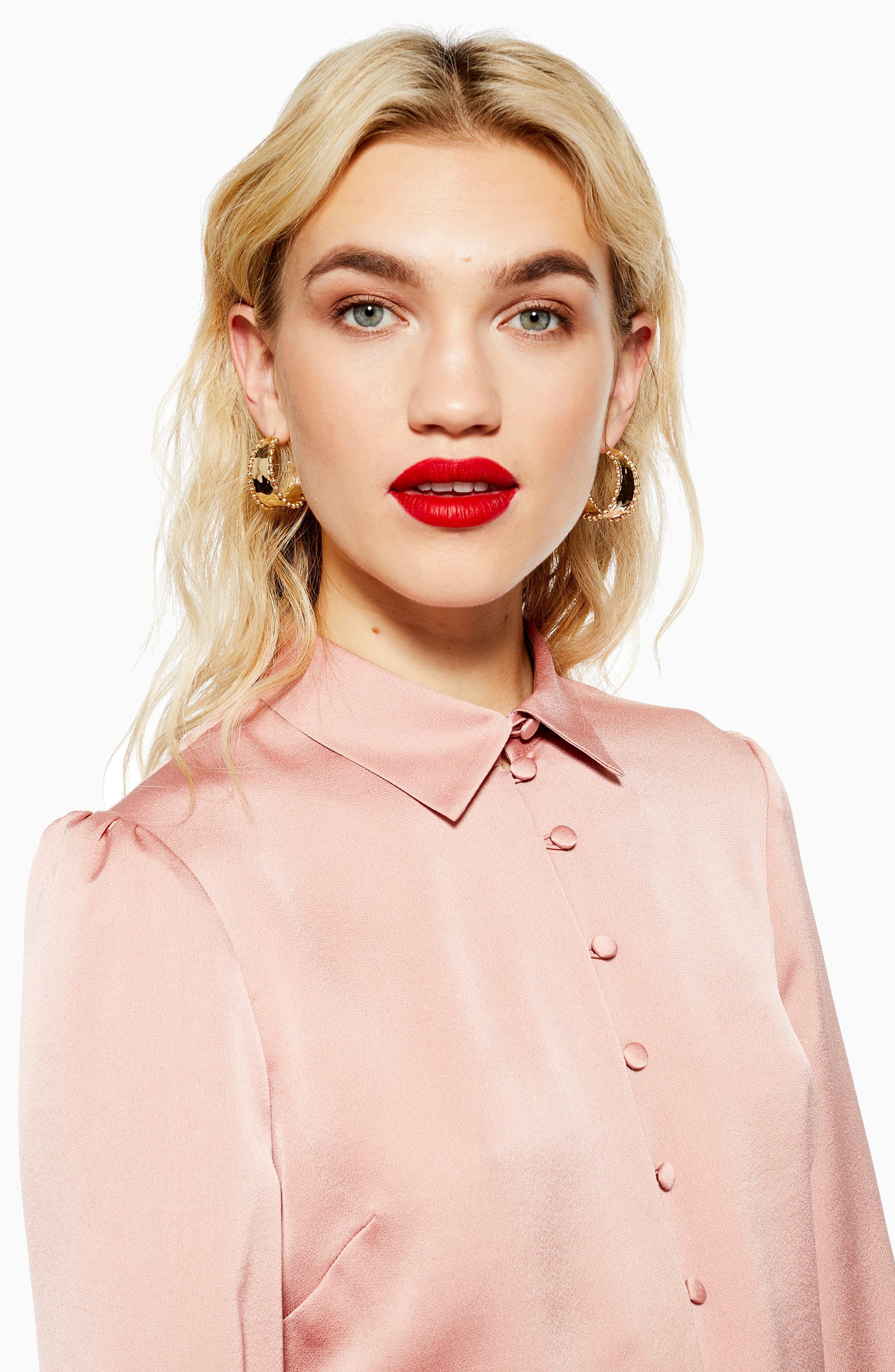 TOPSHOP, Rouleau Button Shirt, Alternate thumbnail 4, color, BLUSH