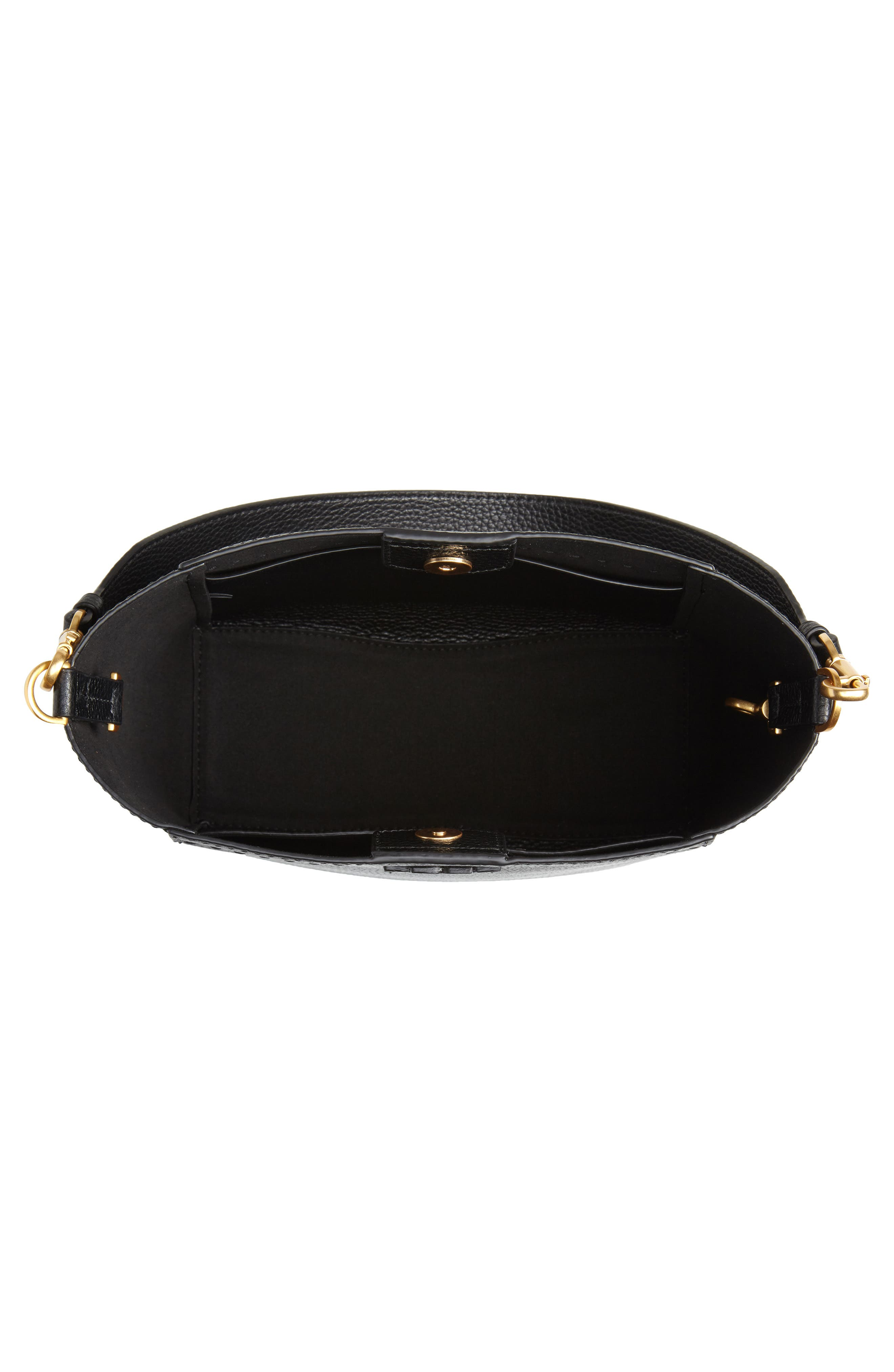 TORY BURCH, McGraw Leather Hobo, Alternate thumbnail 6, color, BLACK