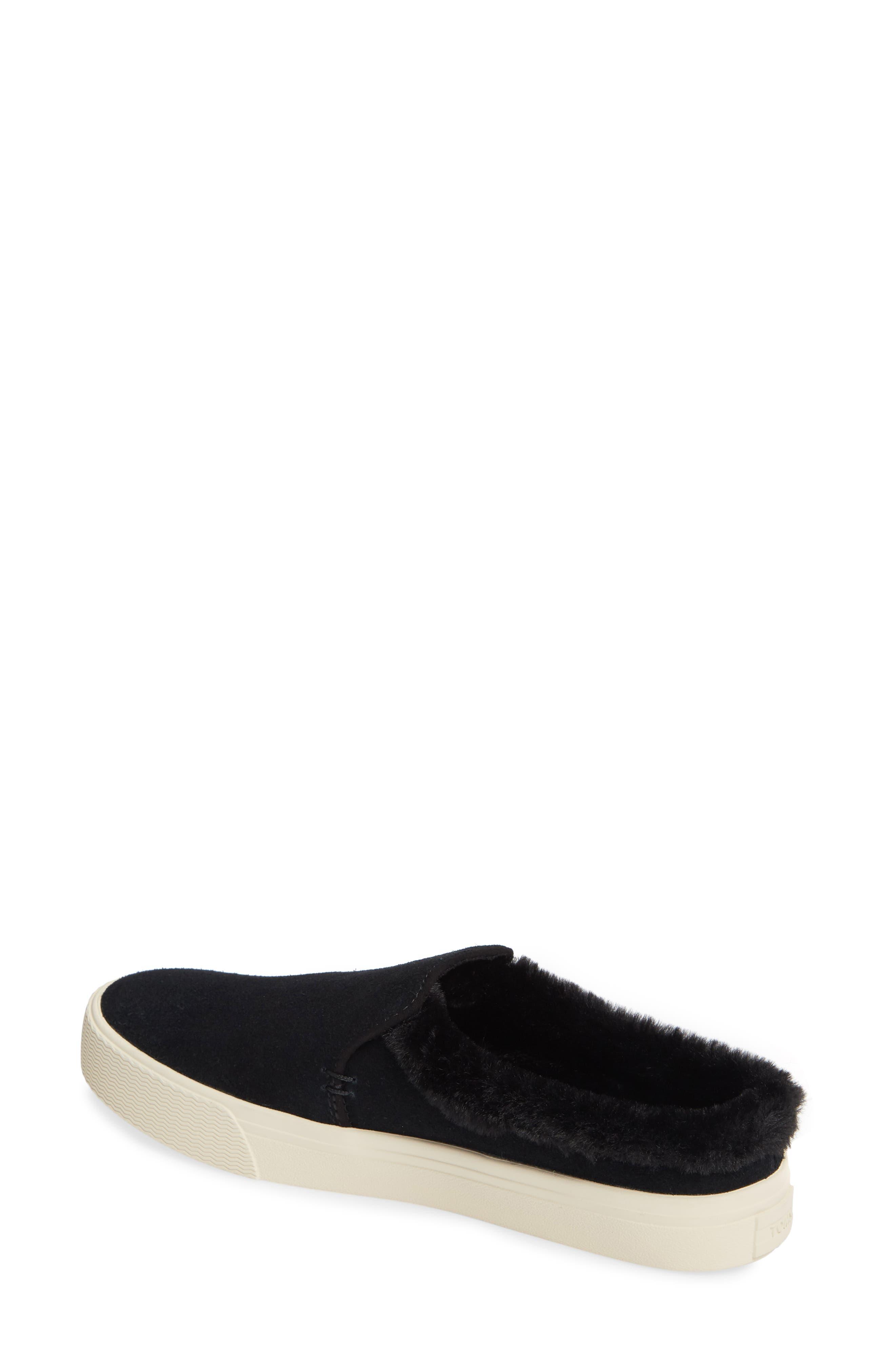 TOMS, Sunrise Faux Fur Lined Slip-On Sneaker, Alternate thumbnail 2, color, BLACK SUEDE