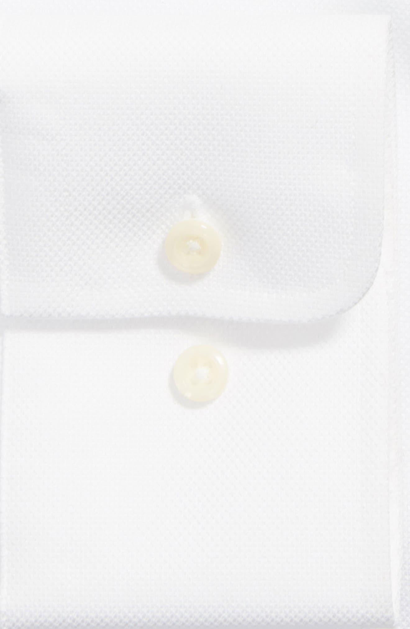 DAVID DONAHUE, Trim Fit Dress Shirt, Alternate thumbnail 4, color, WHITE