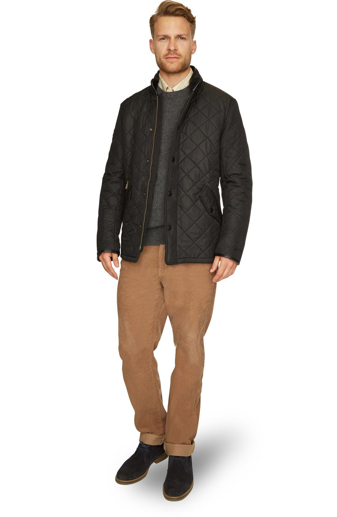 BARBOUR, 'Powell' Regular Fit Quilted Jacket, Alternate thumbnail 2, color, BLACK