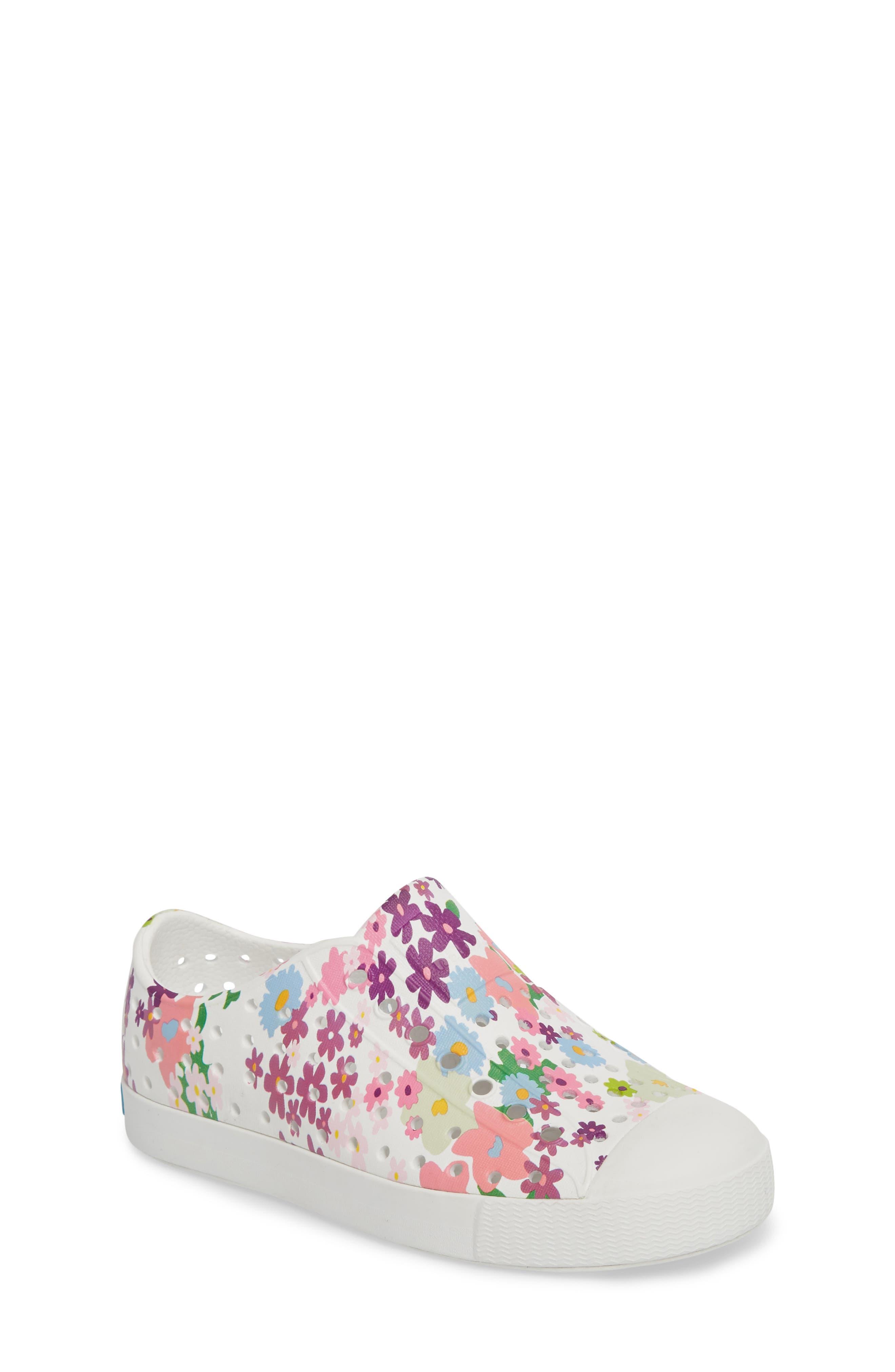 NATIVE SHOES, Jefferson Quartz Slip-On Vegan Sneaker, Main thumbnail 1, color, SHELL WHITE/ DAISY PRINT