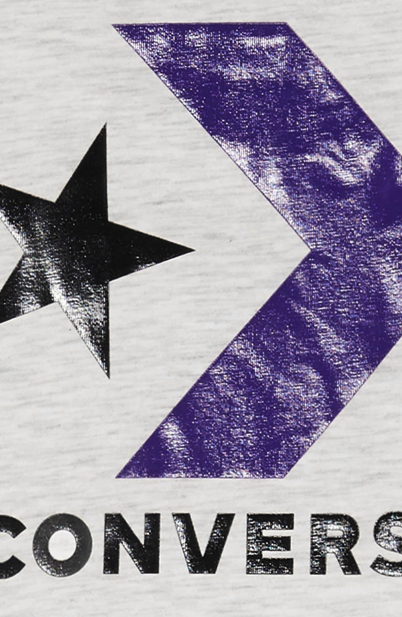 CONVERSE, Logo Graphic Track Dress, Alternate thumbnail 3, color, BIRCH HEATHER