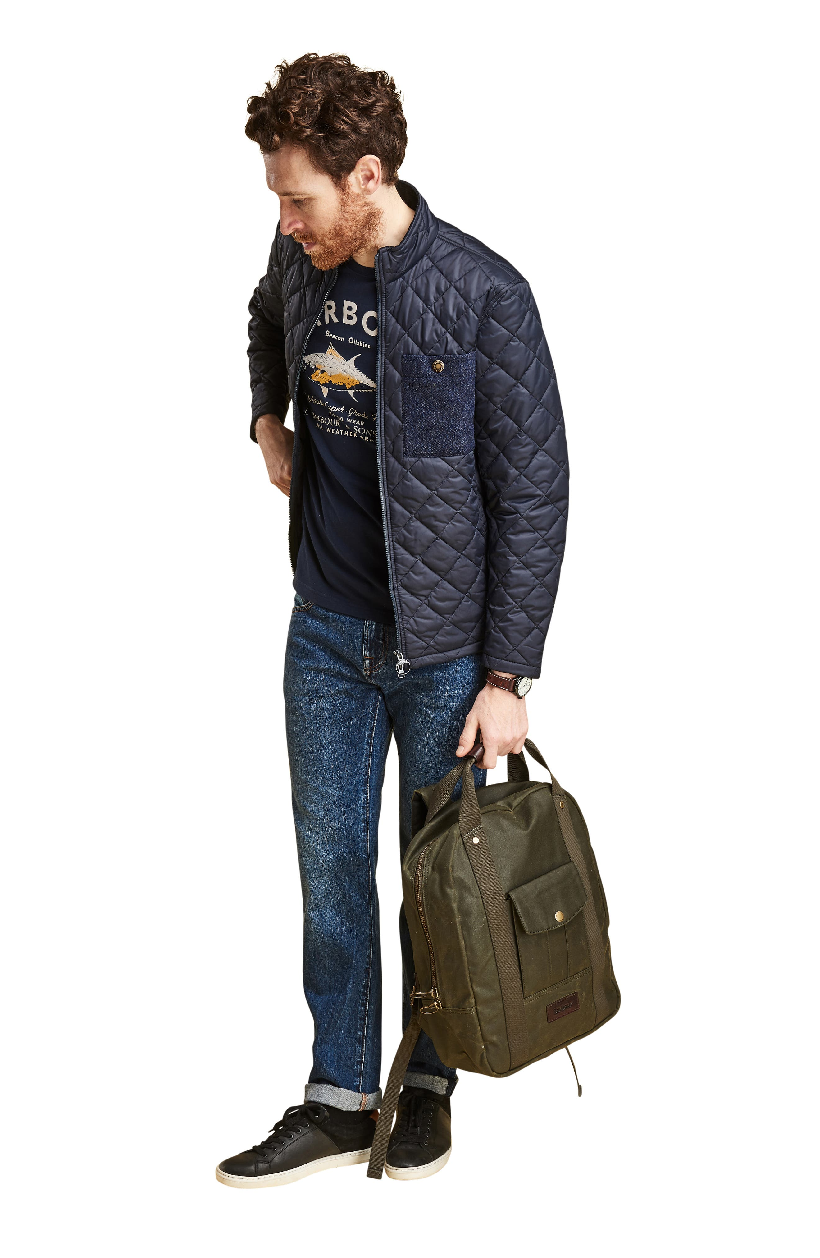 BARBOUR, Barbout Abaft Quilted Jacket, Alternate thumbnail 8, color, NAVY
