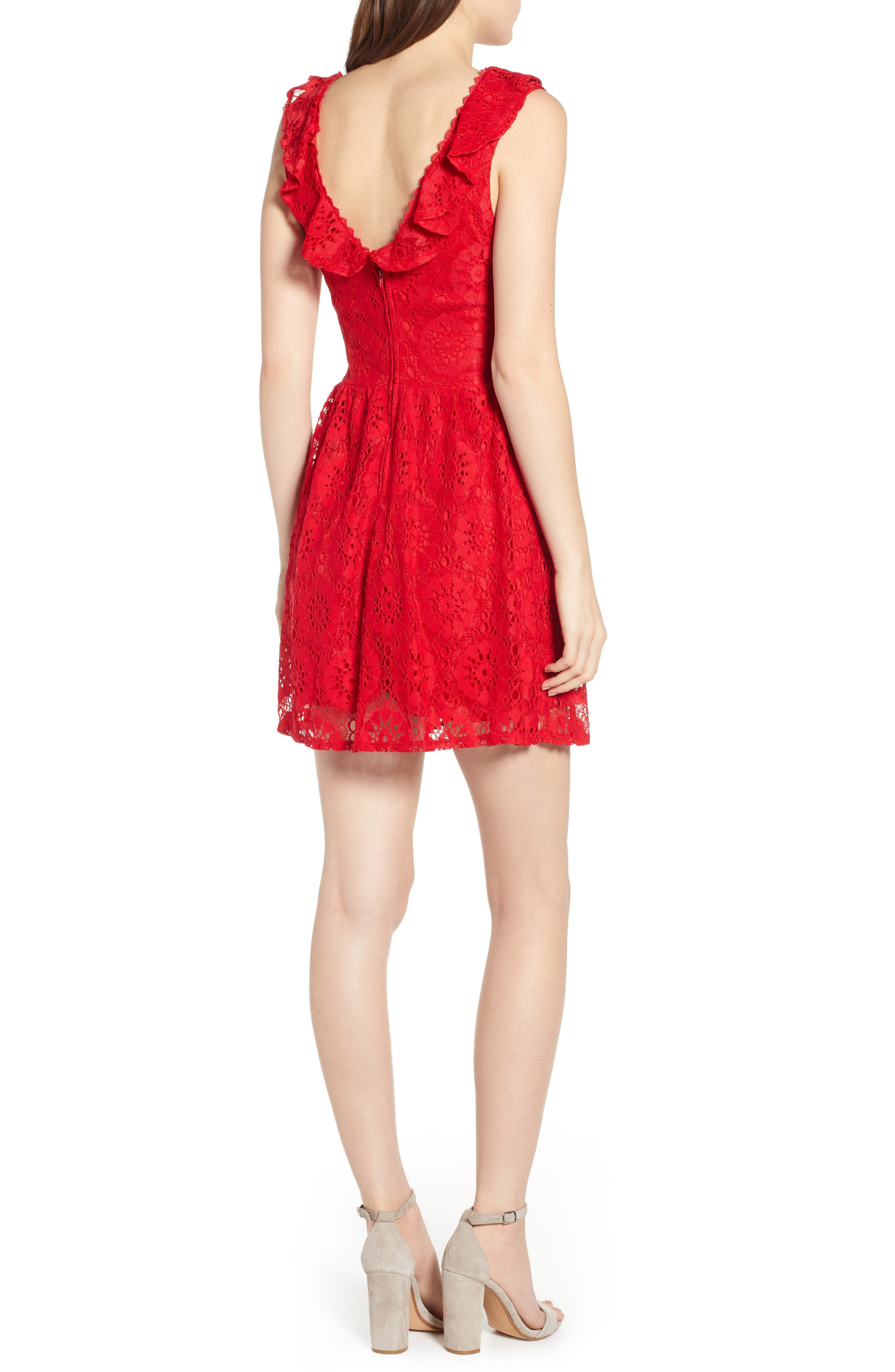 SPEECHLESS, Lace Ruffle Neck Skater Dress, Alternate thumbnail 2, color, RED
