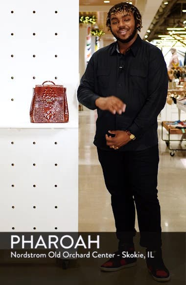 Margo Croc Embossed Leather Backpack, sales video thumbnail