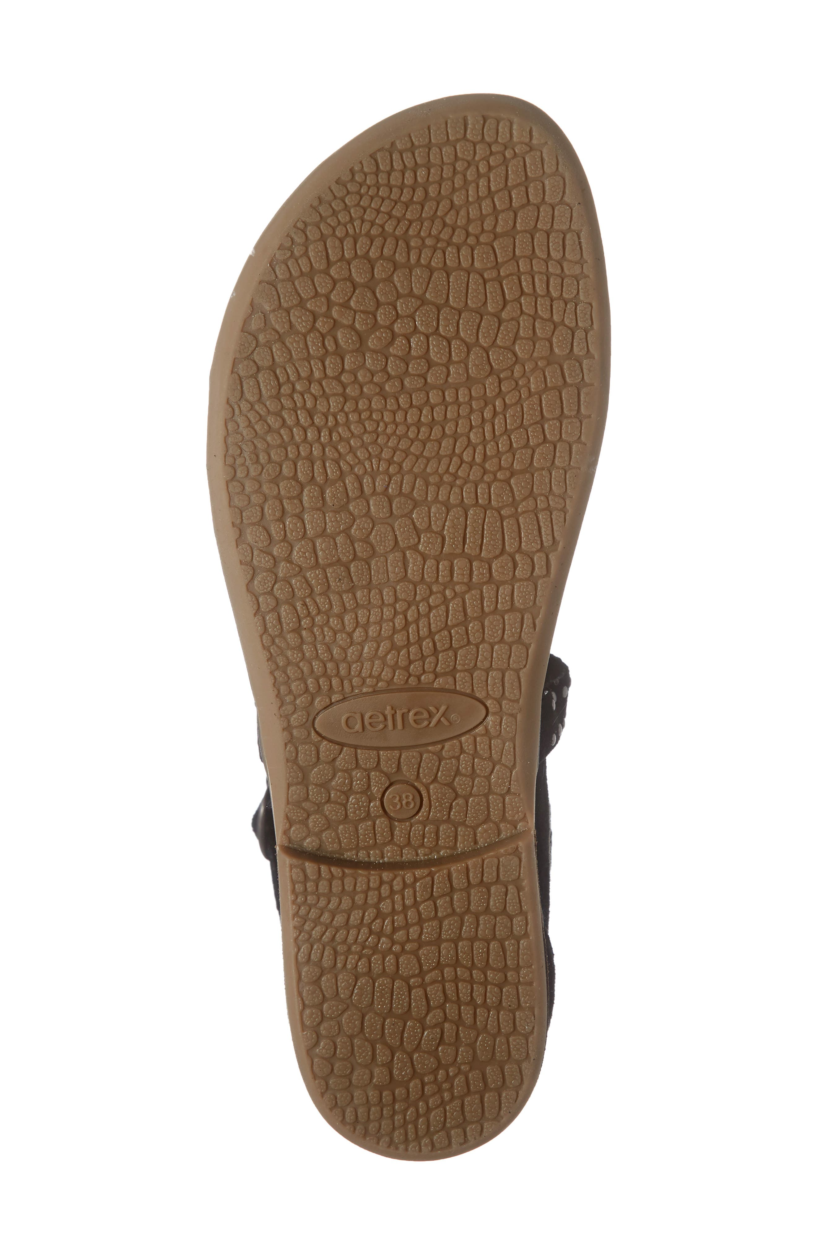 AETREX, Hailey Studded Sandal, Alternate thumbnail 6, color, BLACK SUEDE