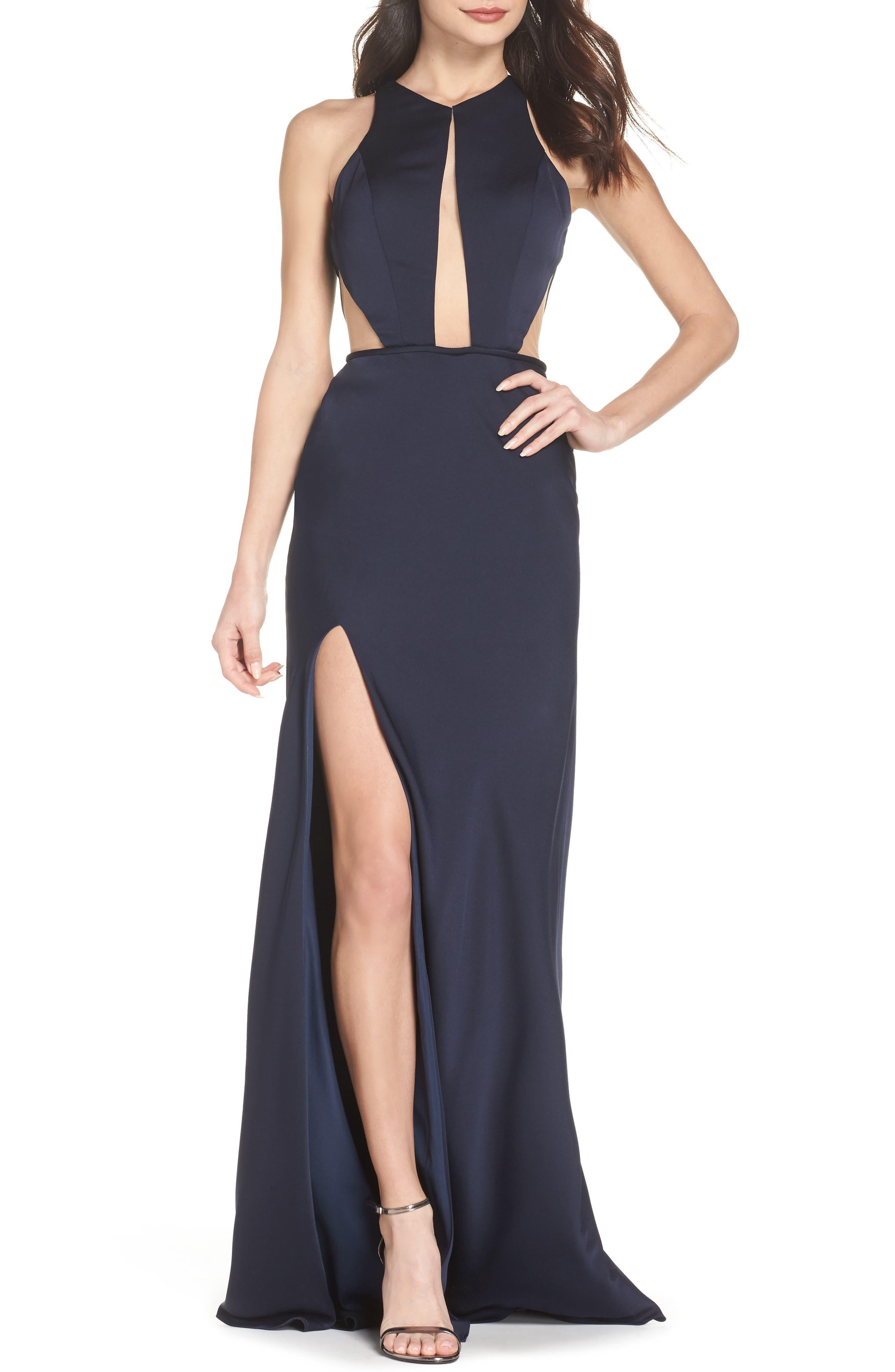 La Femme Cutout Detail Satin Gown, Blue