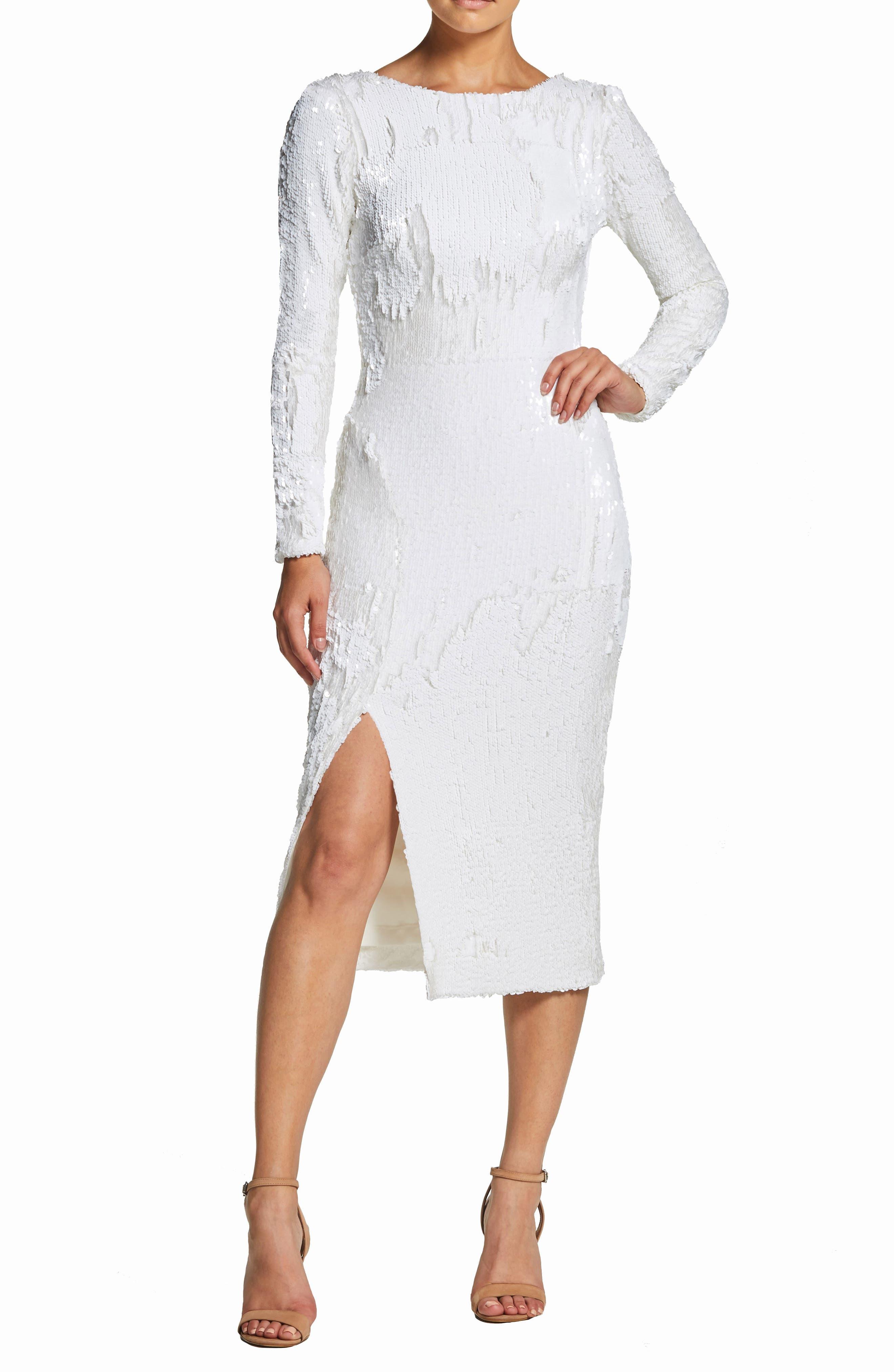 Dress The Population Natalie Sequin Sheath Dress, White