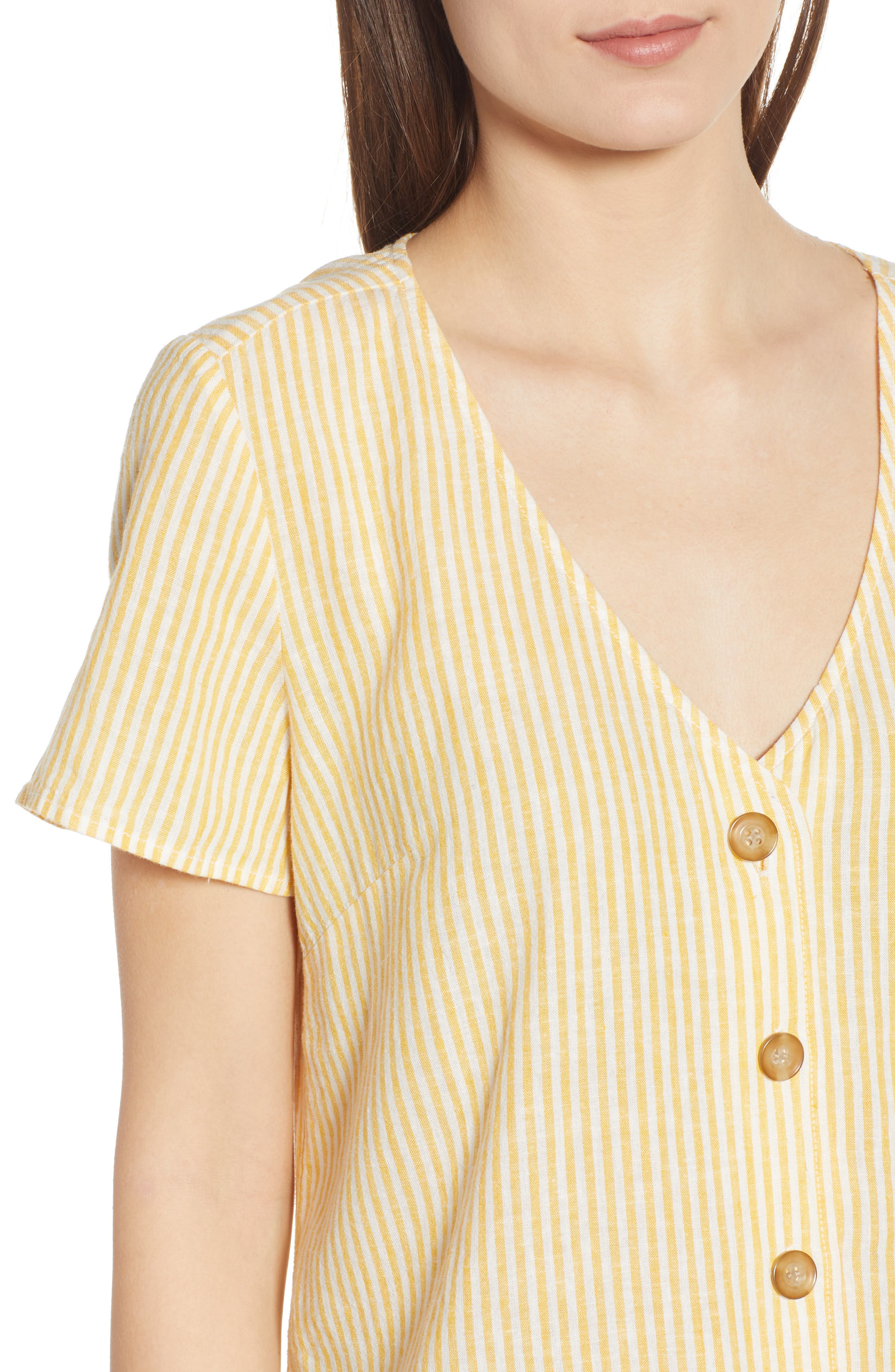 BP., Button Front Linen Blend Top, Alternate thumbnail 5, color, YELLOW WHIP MARA STRIPE